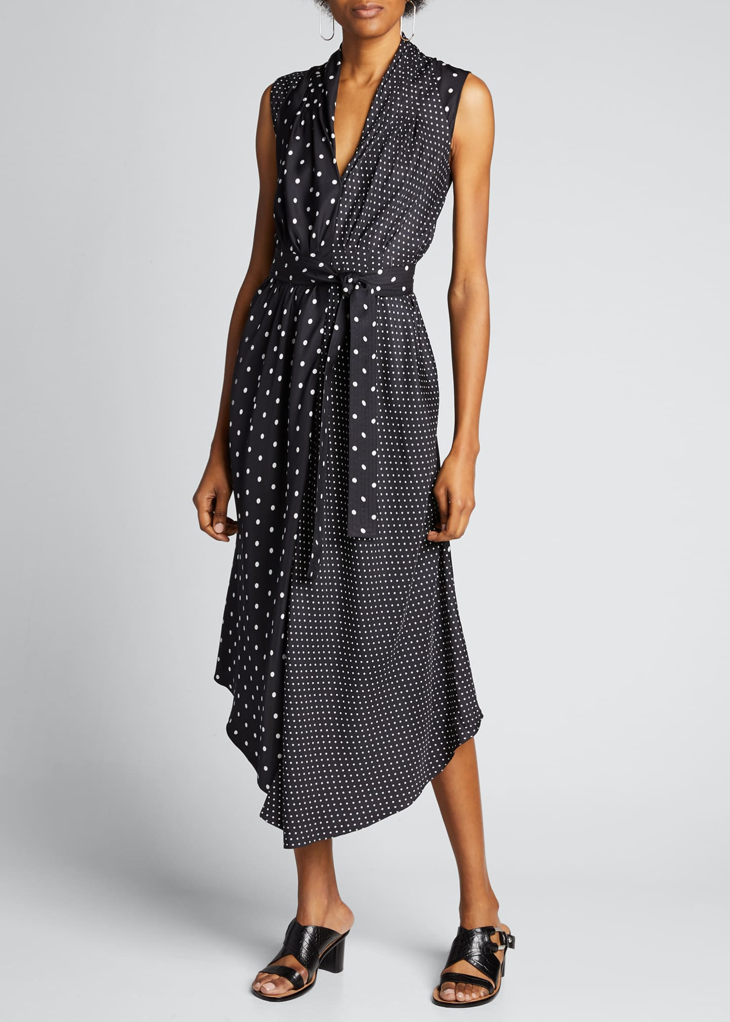 Image 3 of 5: Asymmetric Polka-Dotted Dress