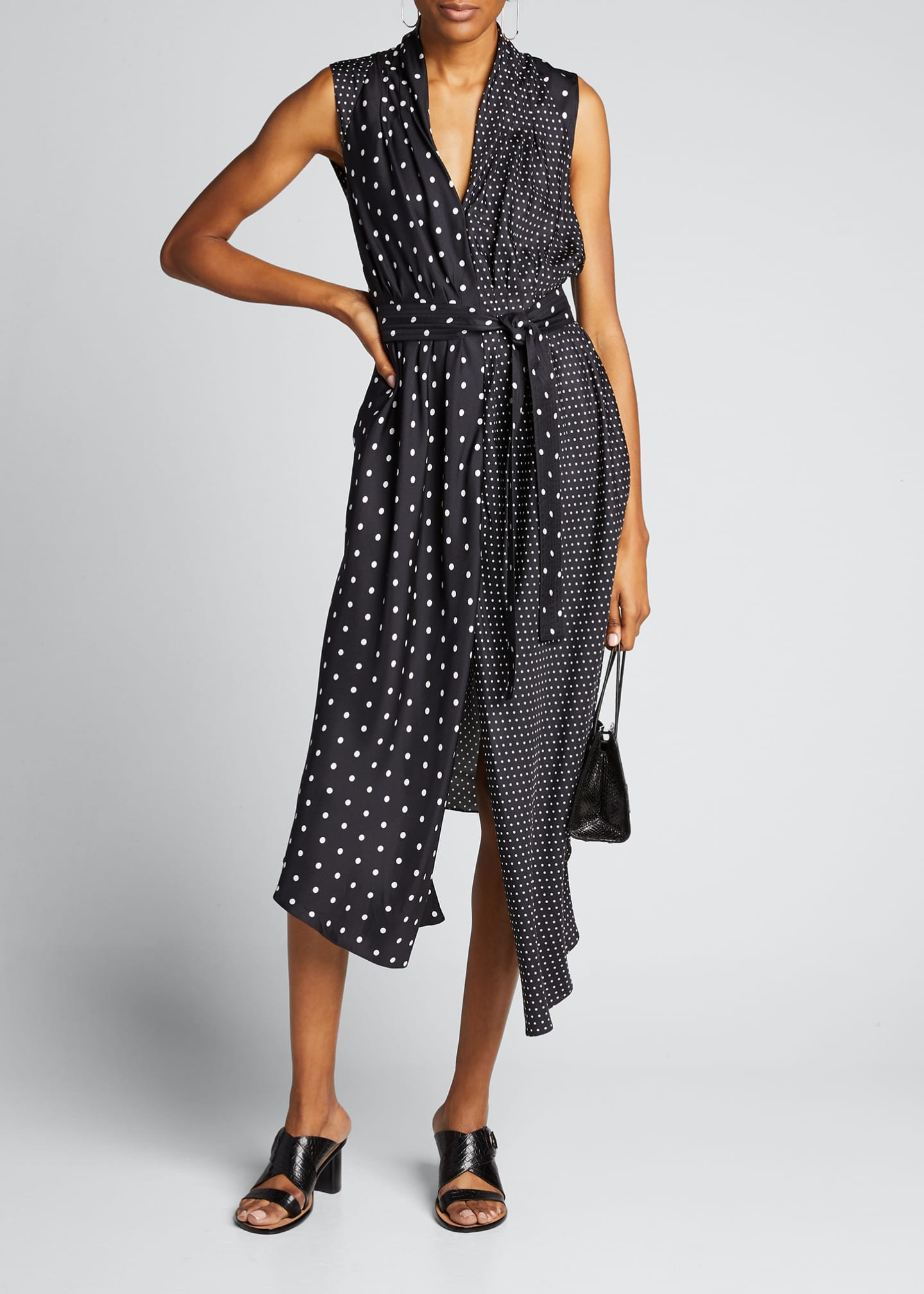 Image 1 of 5: Asymmetric Polka-Dotted Dress