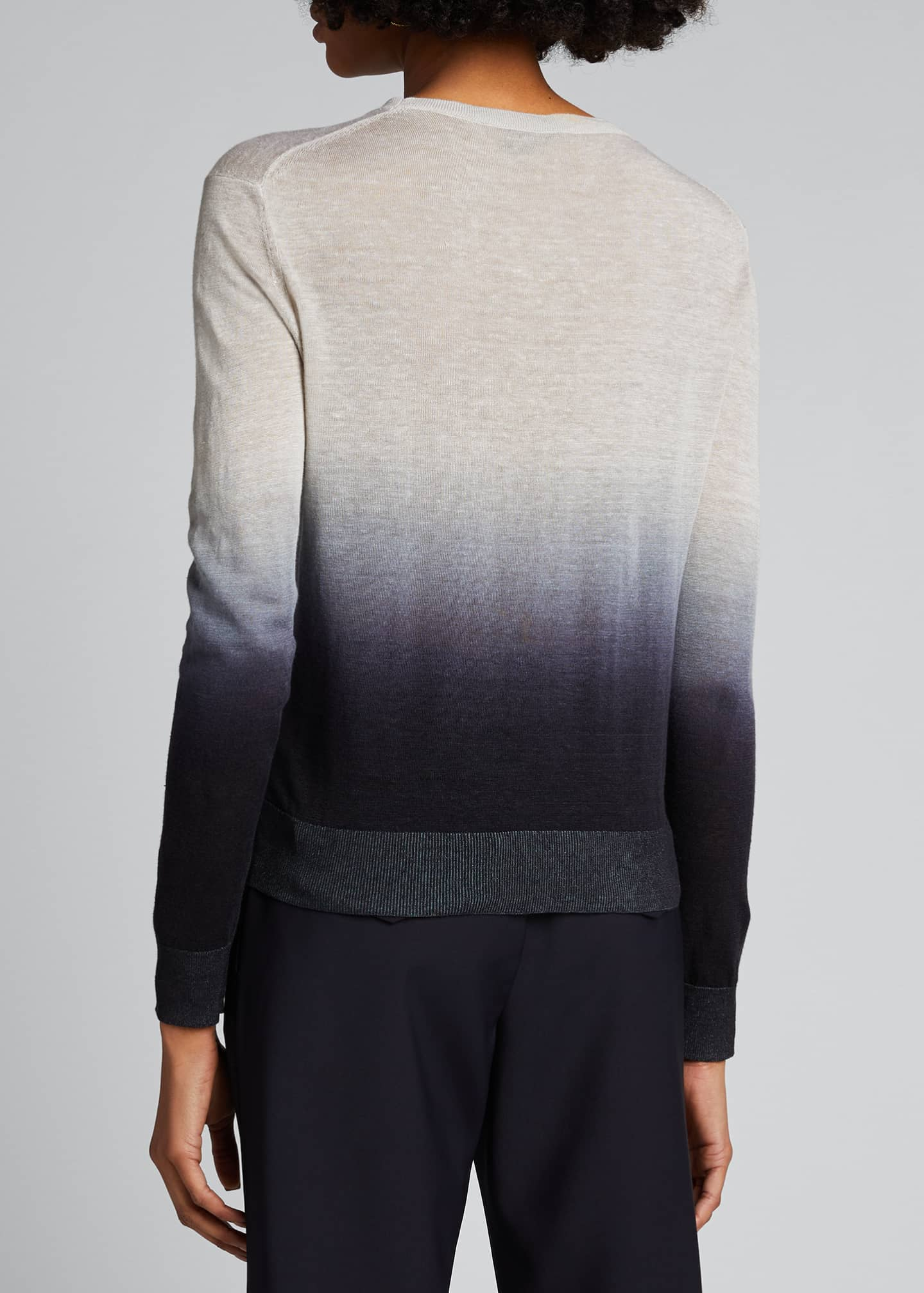 Image 2 of 5: Ombre Crewneck Linen Top