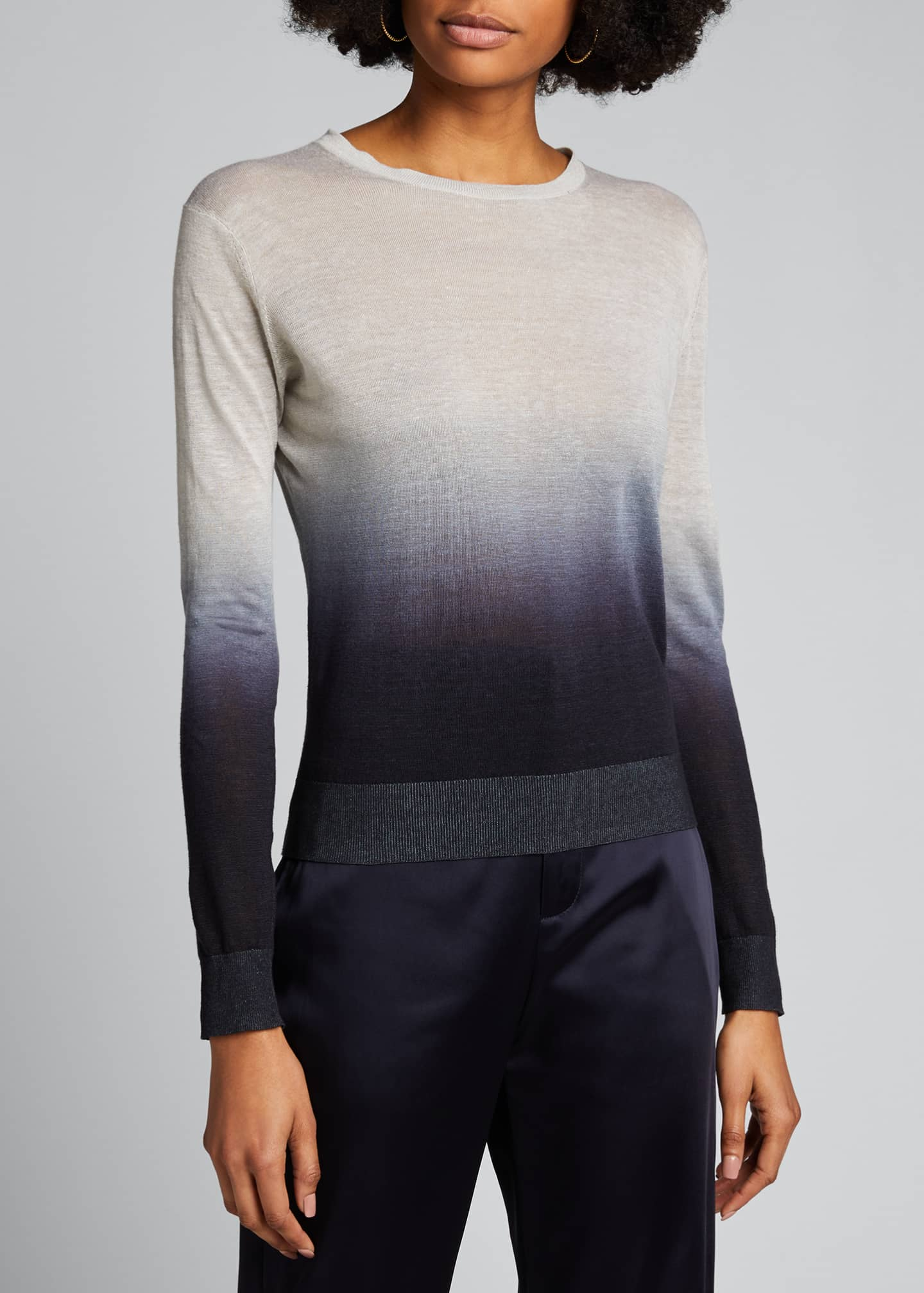 Image 3 of 5: Ombre Crewneck Linen Top