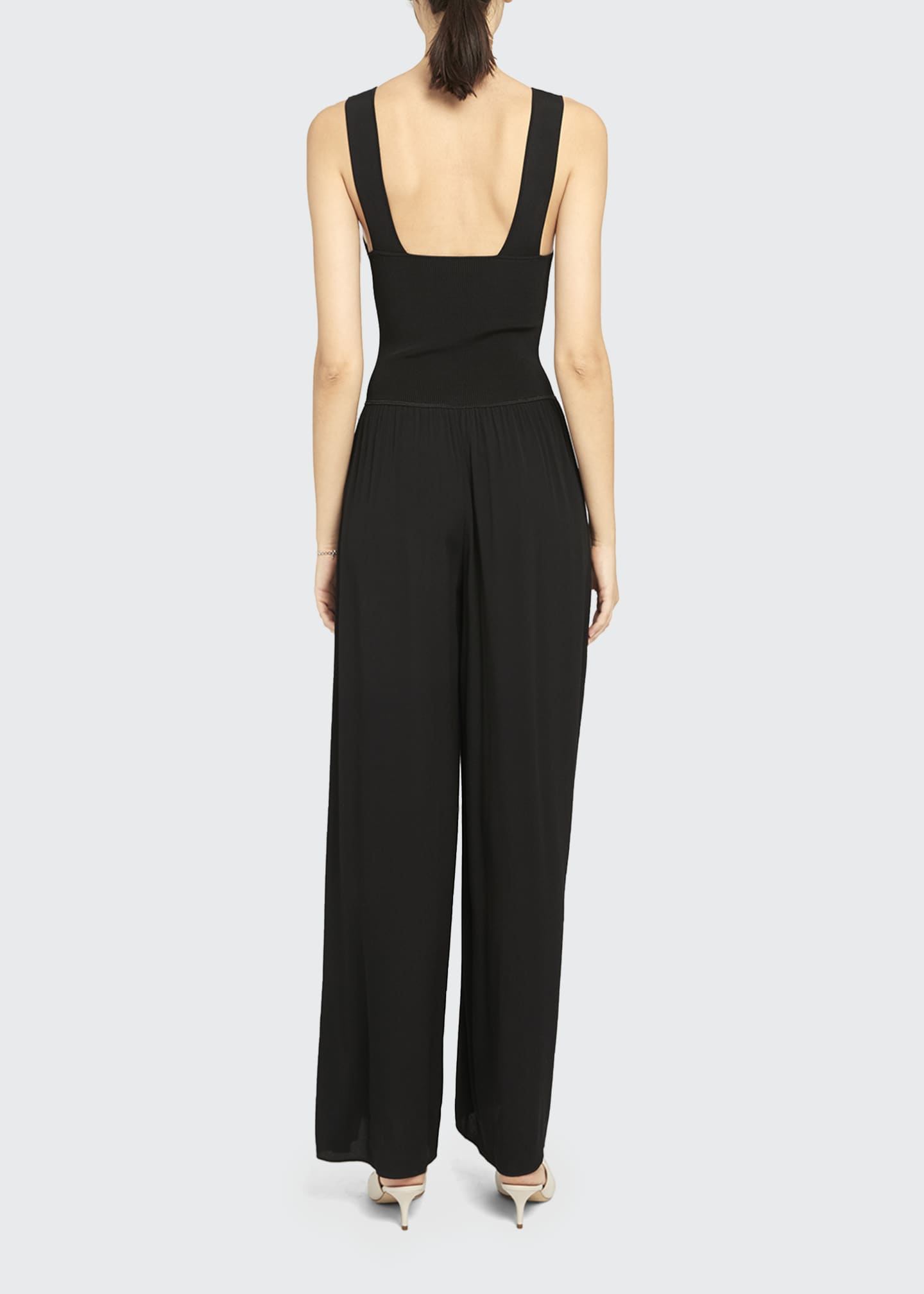 Image 2 of 5: Square-Neck Ribbed Jumpsuit