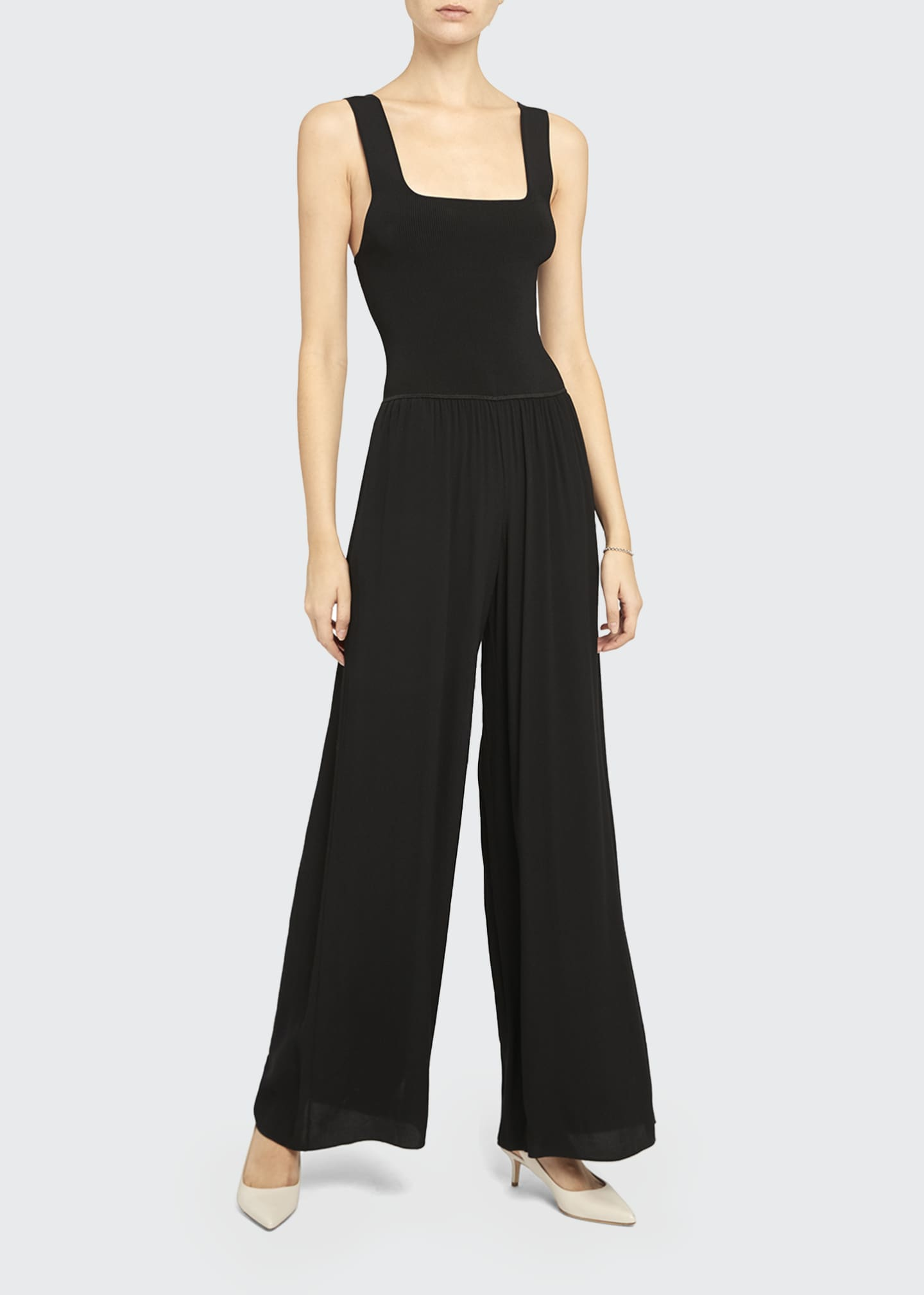 Image 1 of 5: Square-Neck Ribbed Jumpsuit