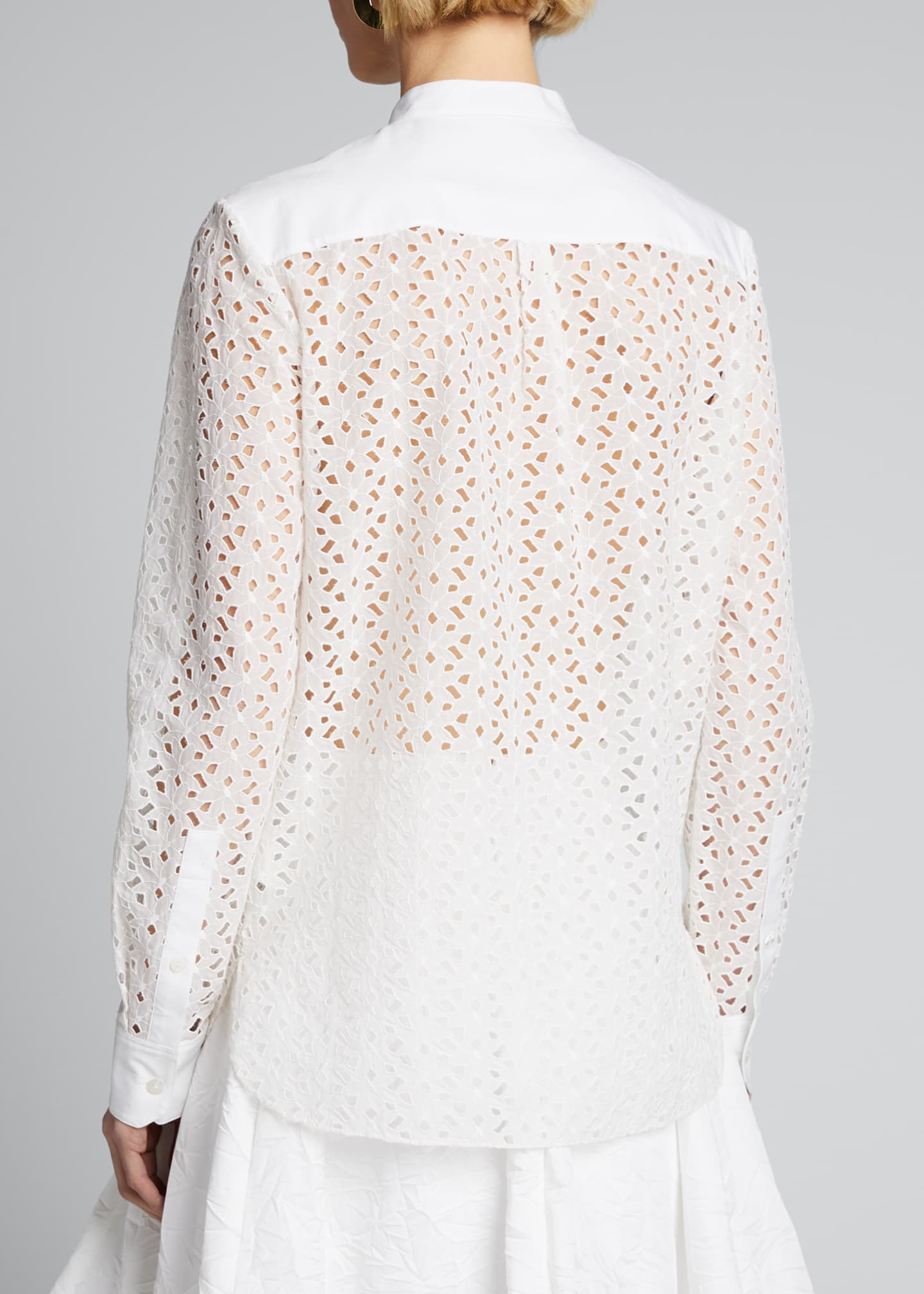 Image 2 of 5: Eyelet Button-Down Combo Shirt