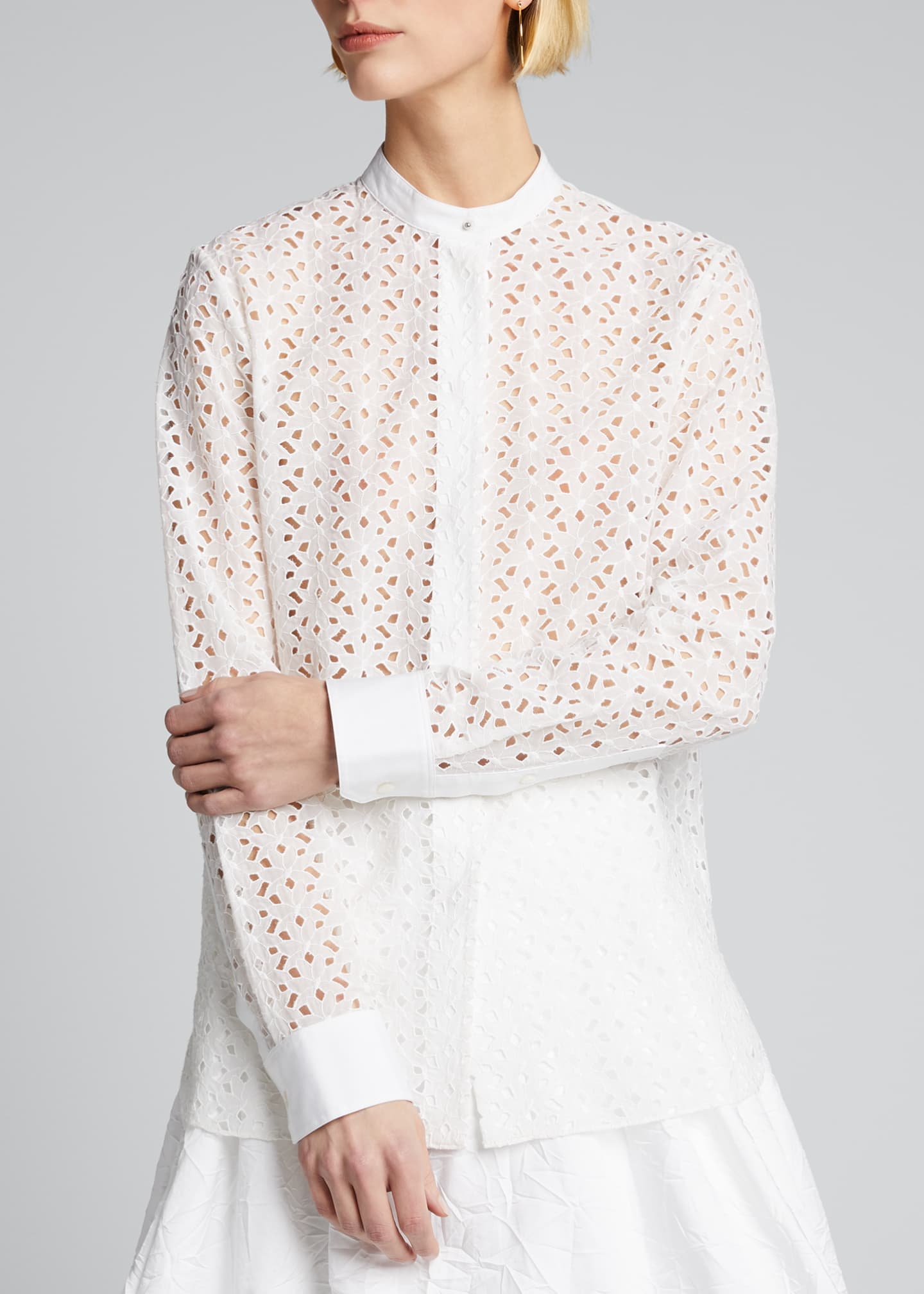 Image 3 of 5: Eyelet Button-Down Combo Shirt
