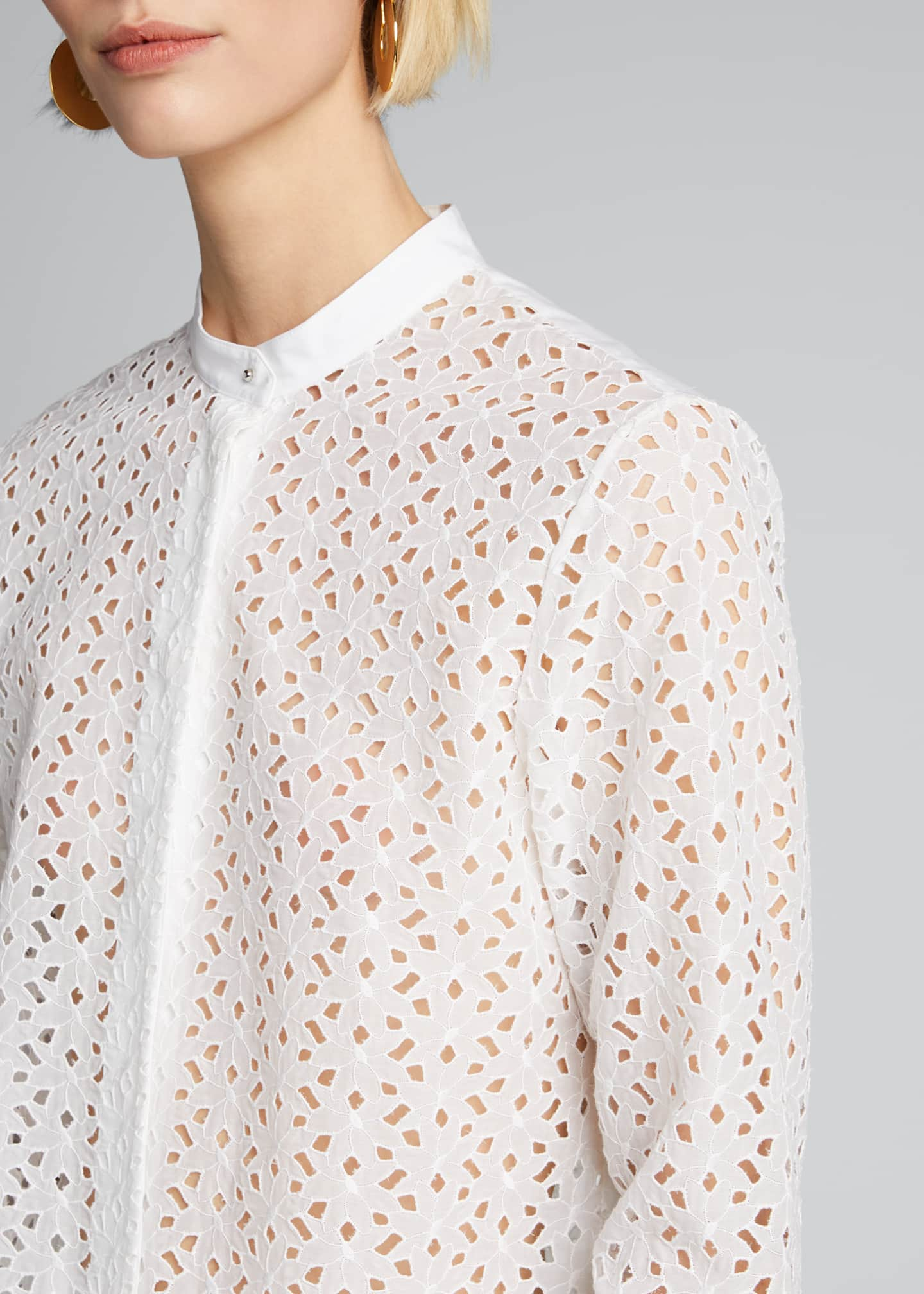 Image 4 of 5: Eyelet Button-Down Combo Shirt