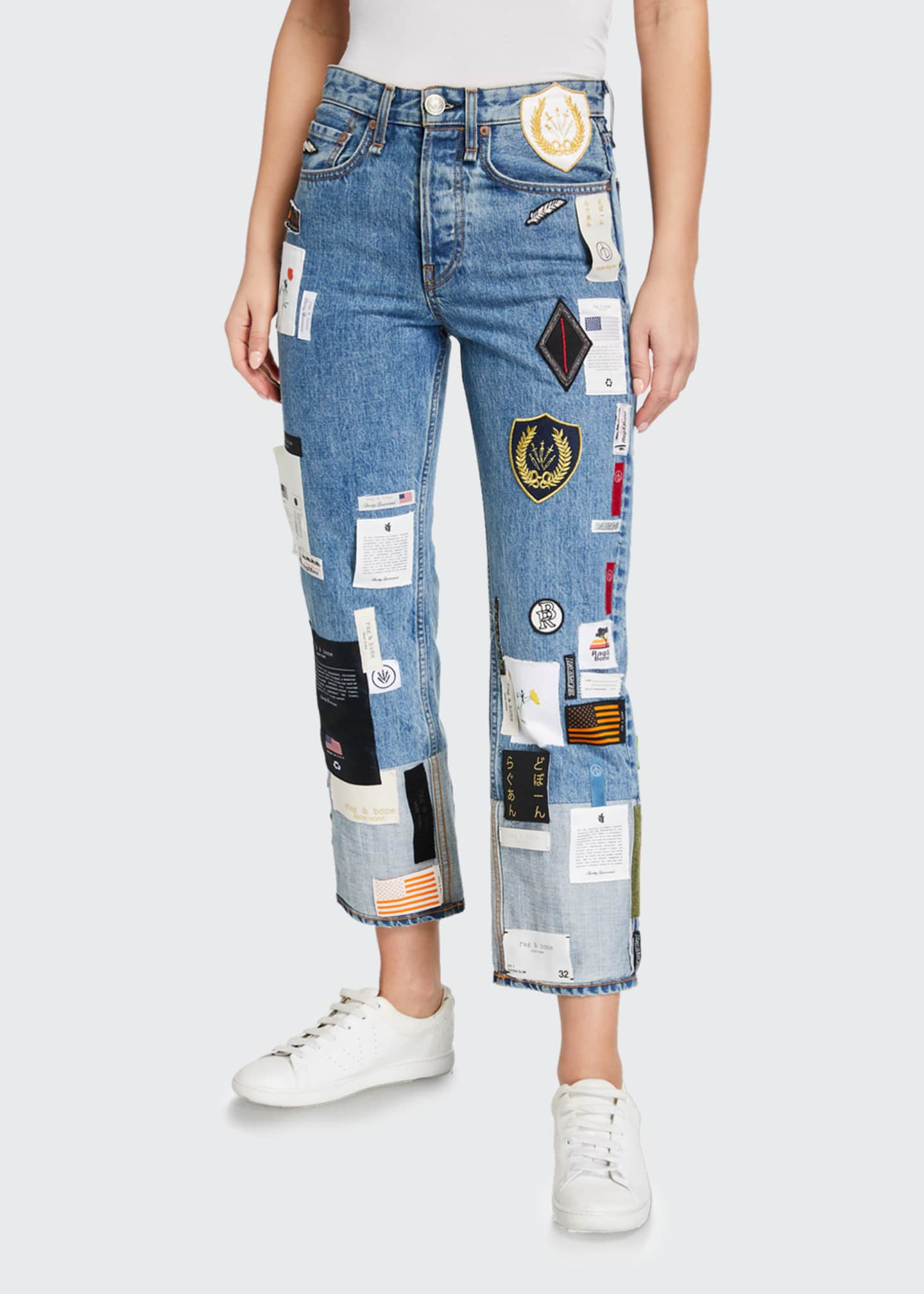Image 3 of 3: Patchwork Straight-Leg Jeans