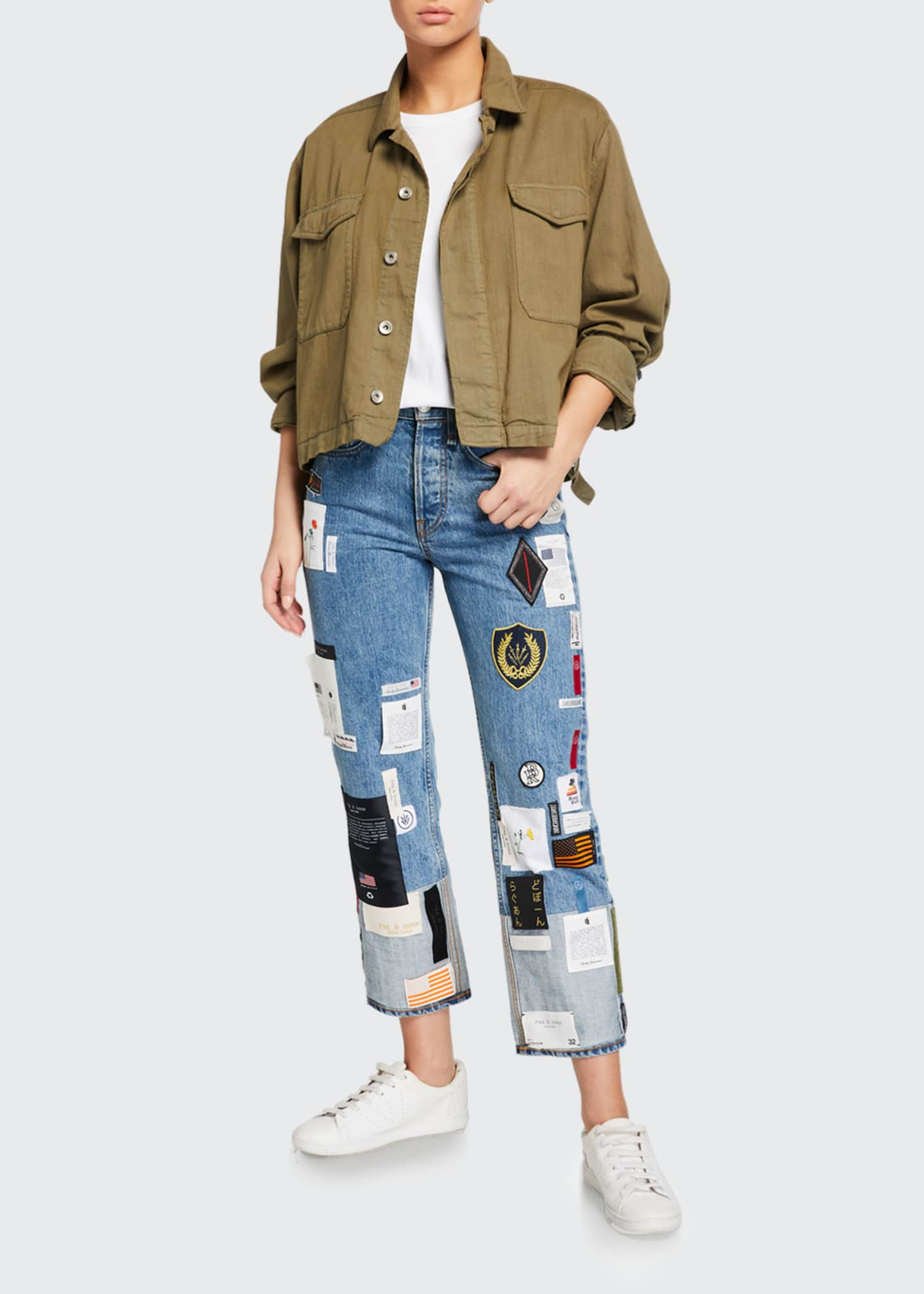 Image 1 of 3: Patchwork Straight-Leg Jeans