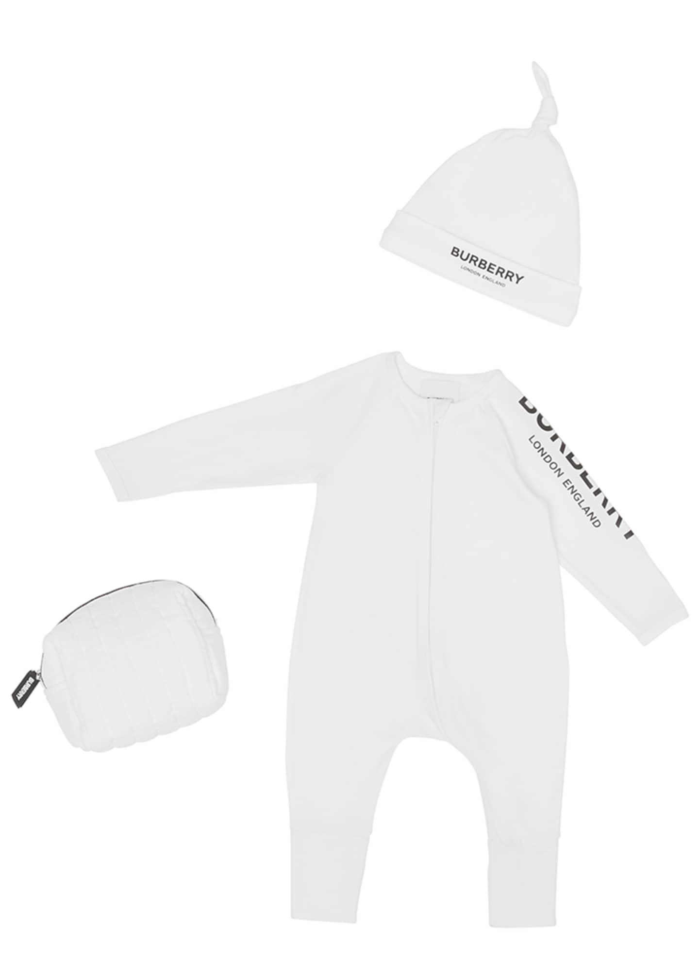 Image 1 of 4: Claude Logo Coverall w/ Knotted Hat & Carrying Pouch, Size 1-12 Months