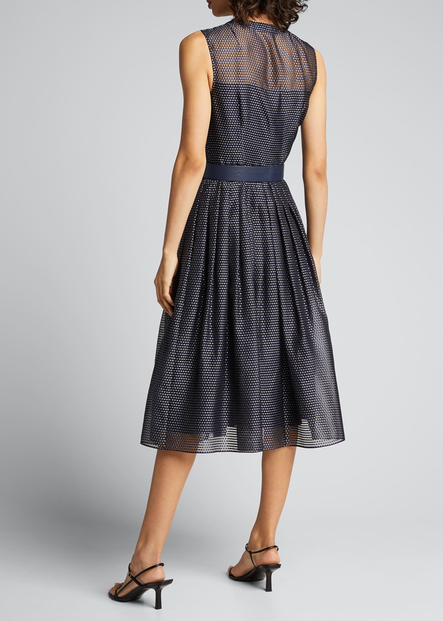 Image 2 of 5: Pin Dot Organza Sleeveless Belted Dress