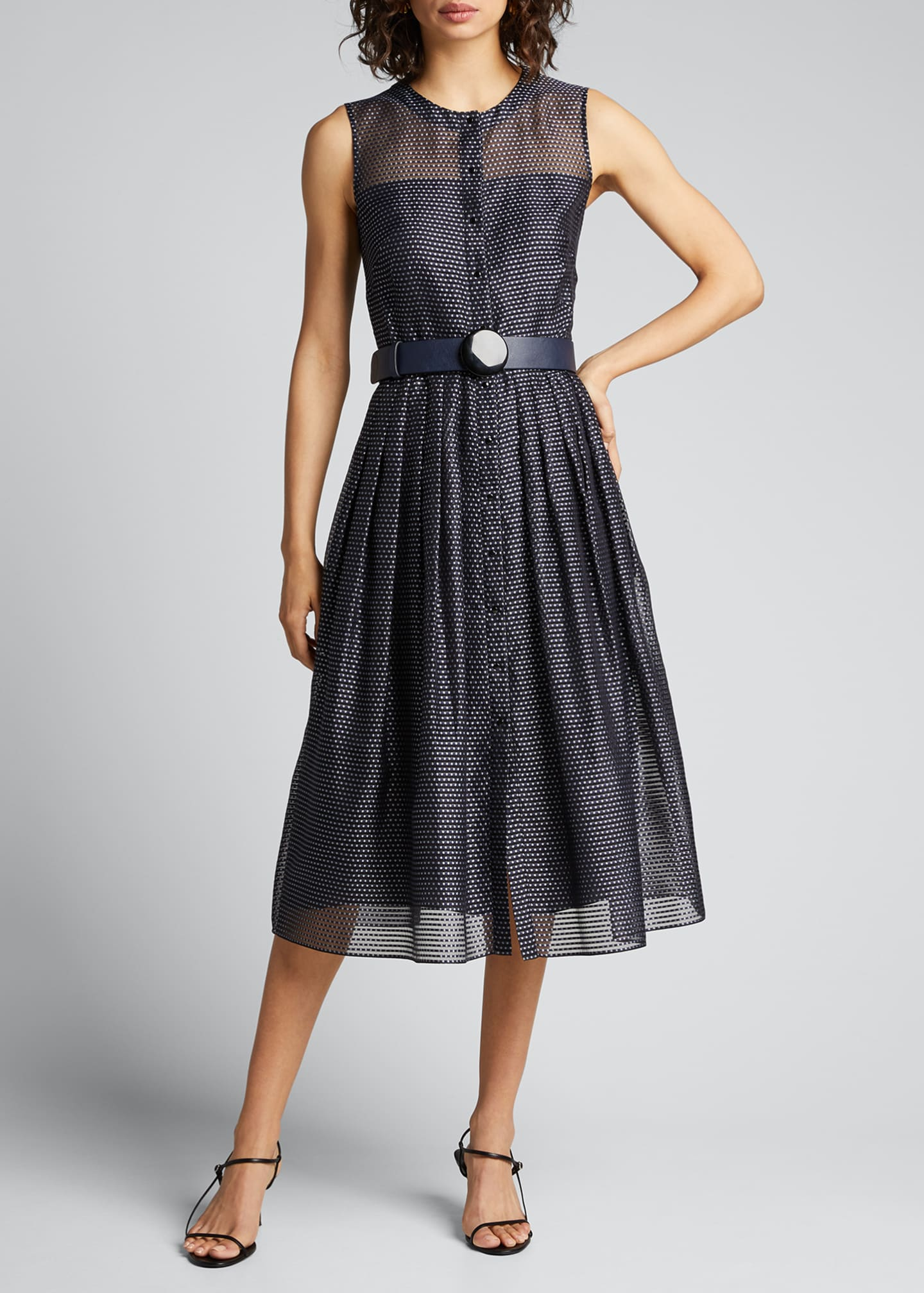 Image 3 of 5: Pin Dot Organza Sleeveless Belted Dress
