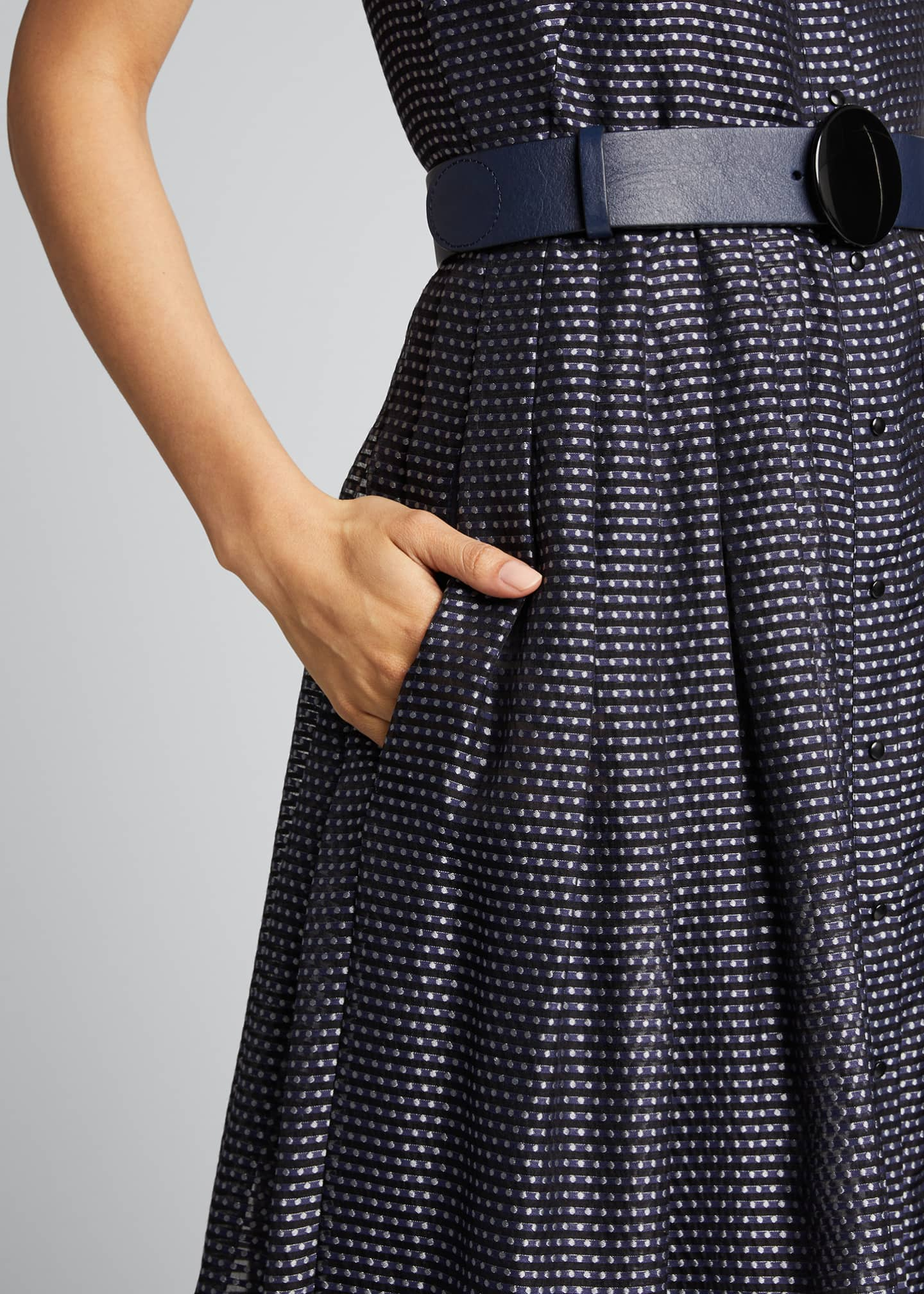 Image 4 of 5: Pin Dot Organza Sleeveless Belted Dress