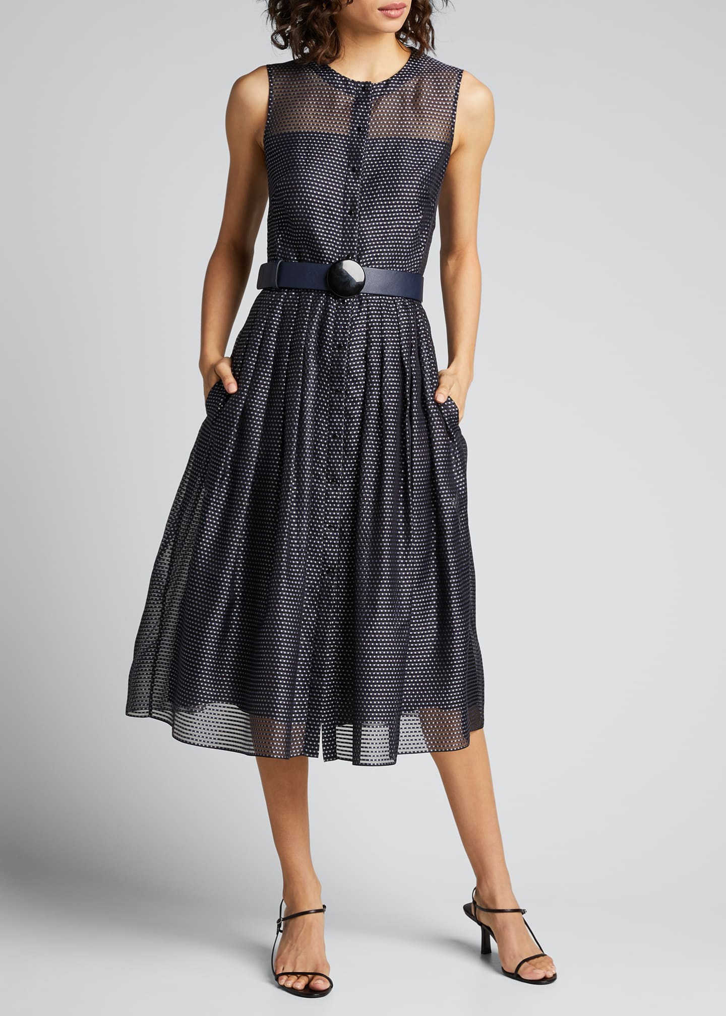 Image 1 of 5: Pin Dot Organza Sleeveless Belted Dress