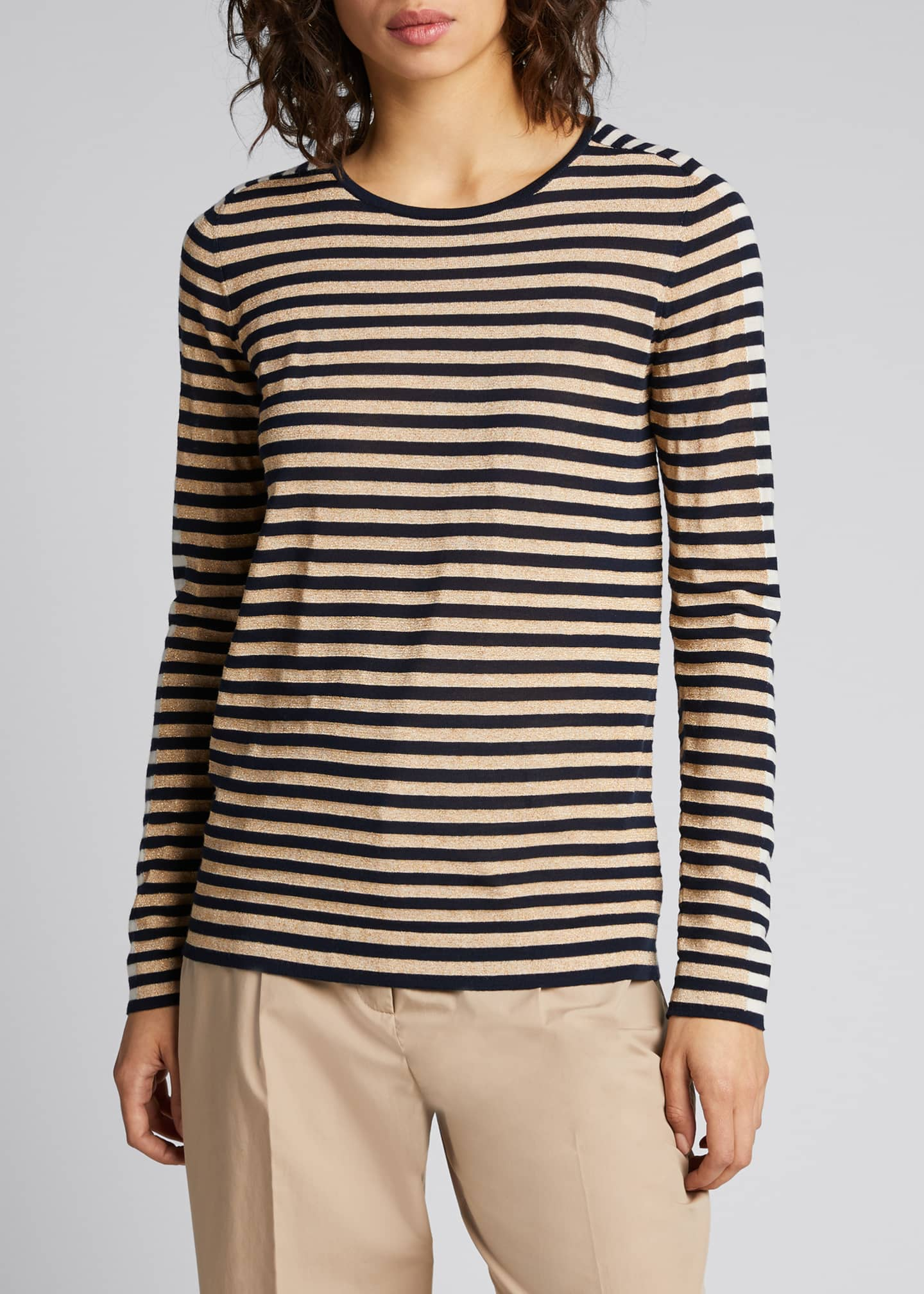 Image 3 of 5: Signature Stripe Wool Knit Pullover