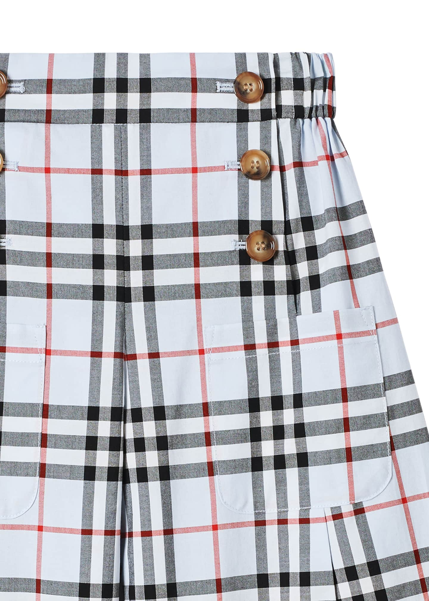 Image 2 of 3: Girl's Taren Wide-Leg Check Sailor Pants, Size 3-14