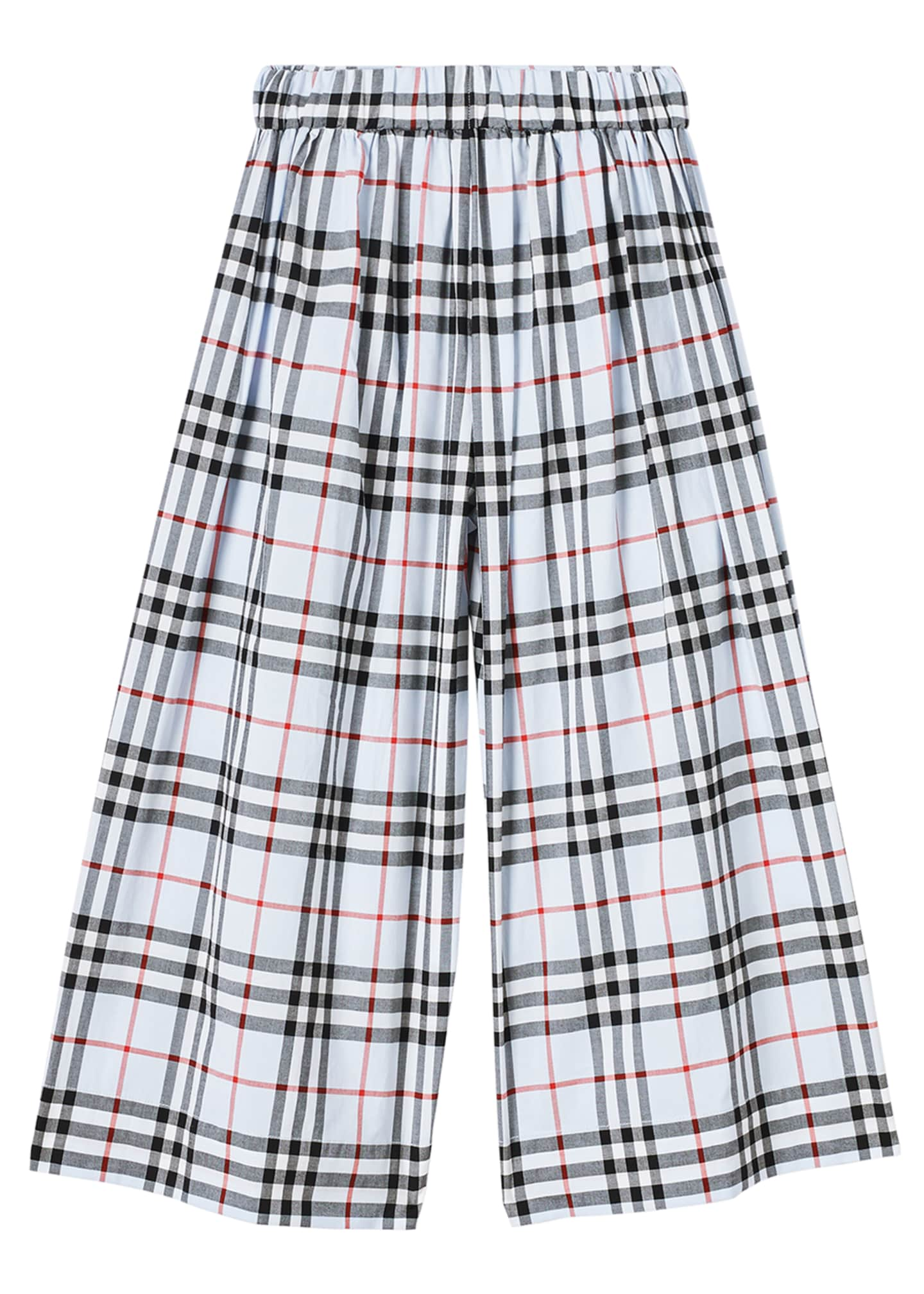 Image 3 of 3: Girl's Taren Wide-Leg Check Sailor Pants, Size 3-14