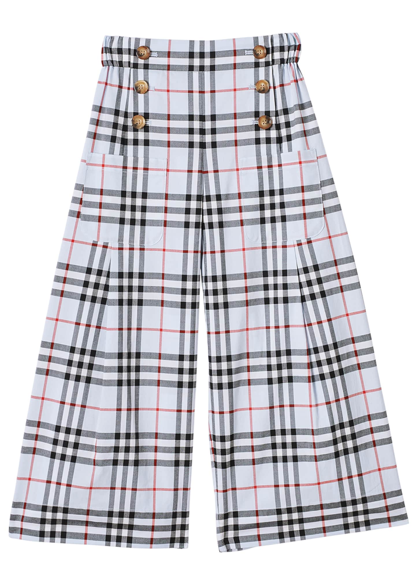 Image 1 of 3: Girl's Taren Wide-Leg Check Sailor Pants, Size 3-14