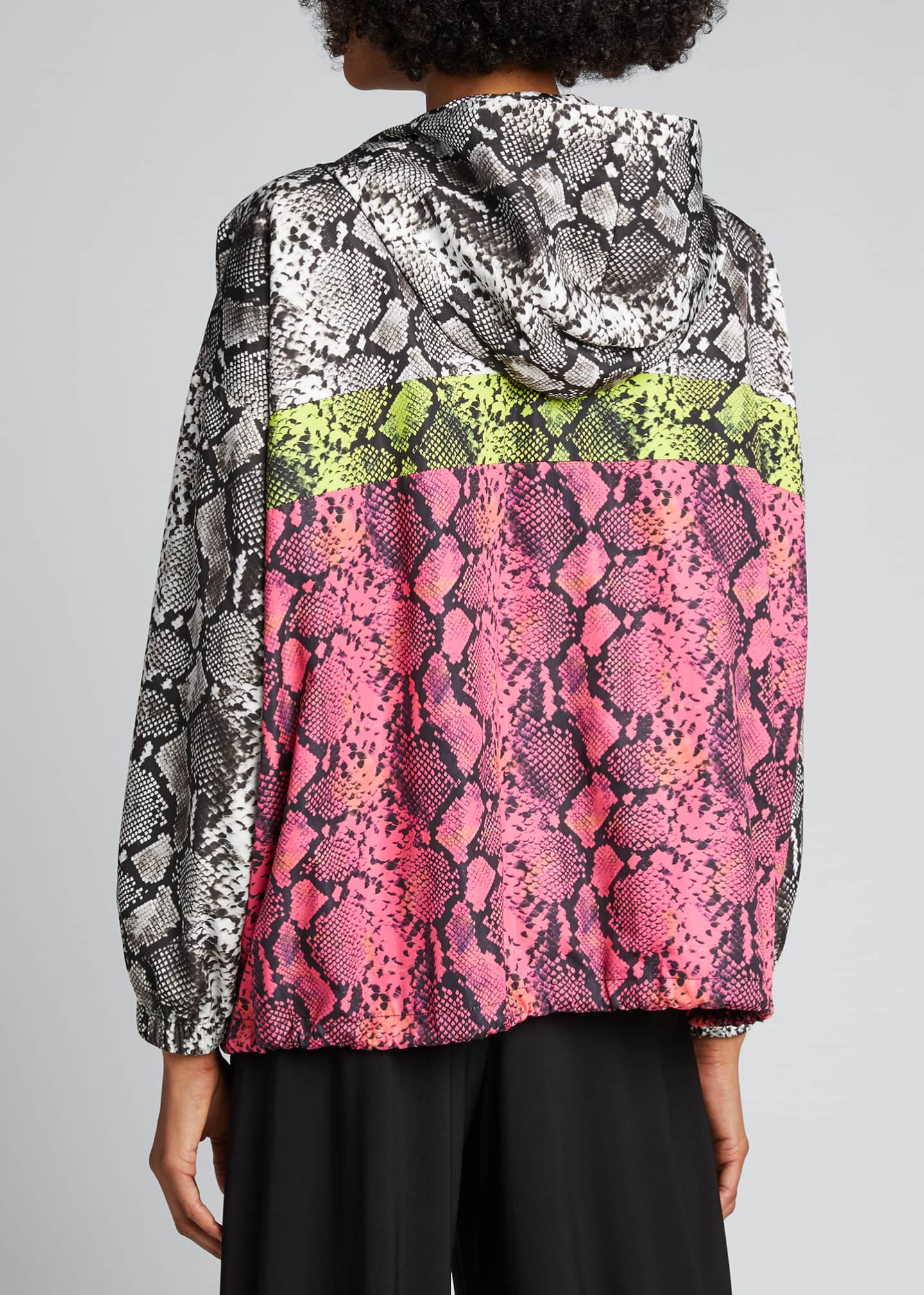 Image 2 of 5: Colorblocked Snake-Print Wind-Resistant Jacket