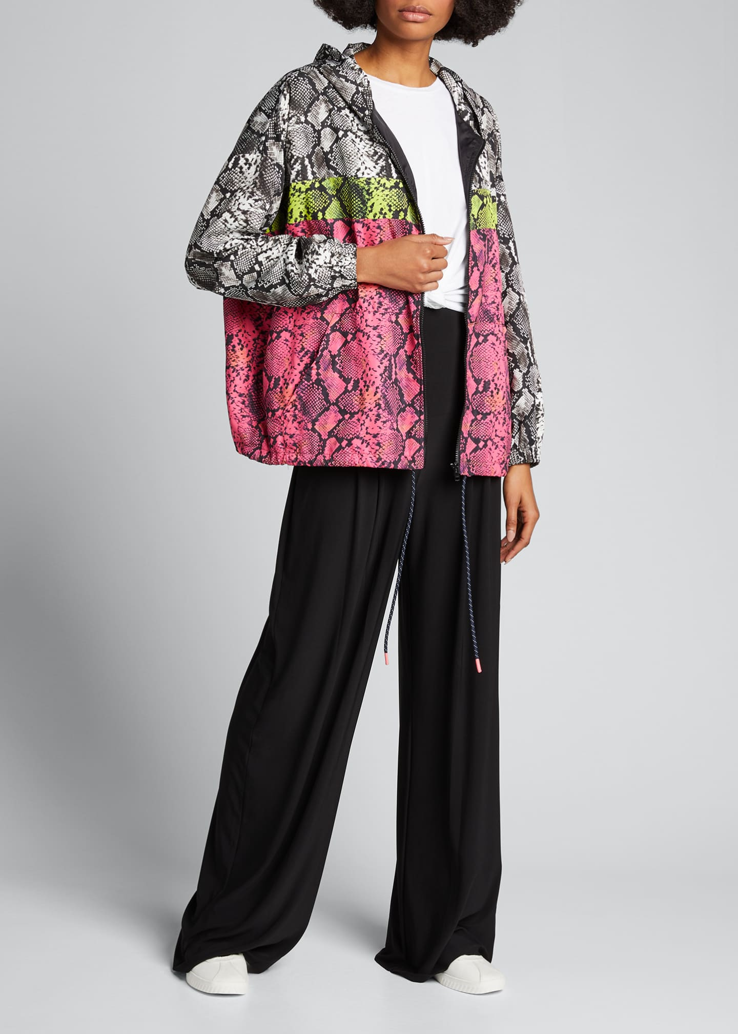Image 1 of 5: Colorblocked Snake-Print Wind-Resistant Jacket
