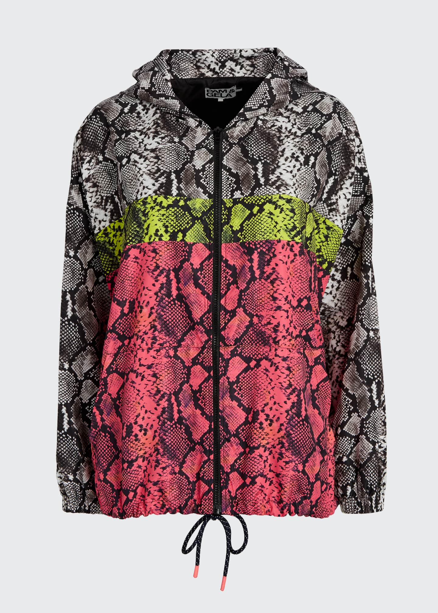 Image 5 of 5: Colorblocked Snake-Print Wind-Resistant Jacket