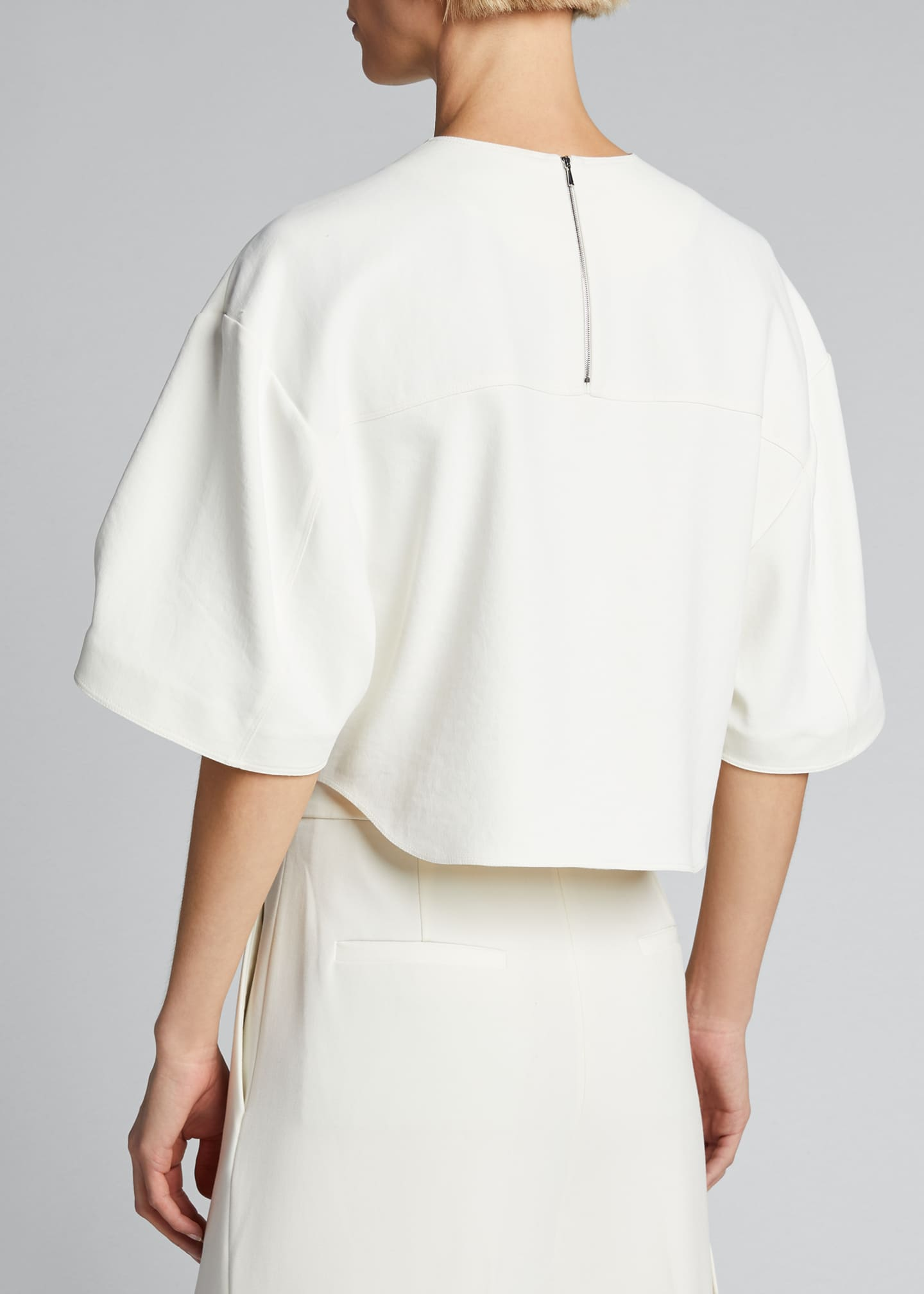 Image 2 of 5: Chalky Drape Sculpted Short-Sleeve Top
