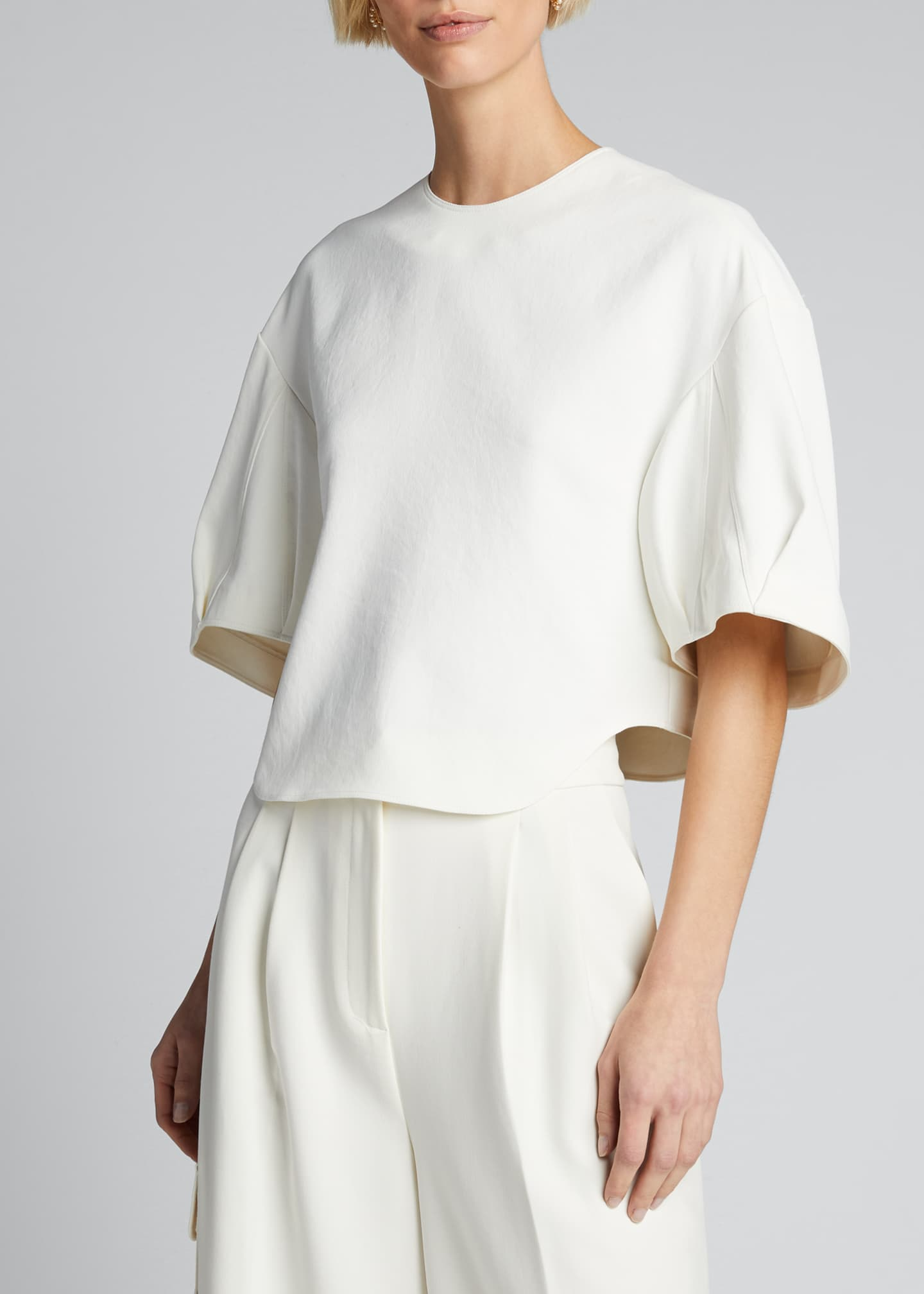 Image 3 of 5: Chalky Drape Sculpted Short-Sleeve Top