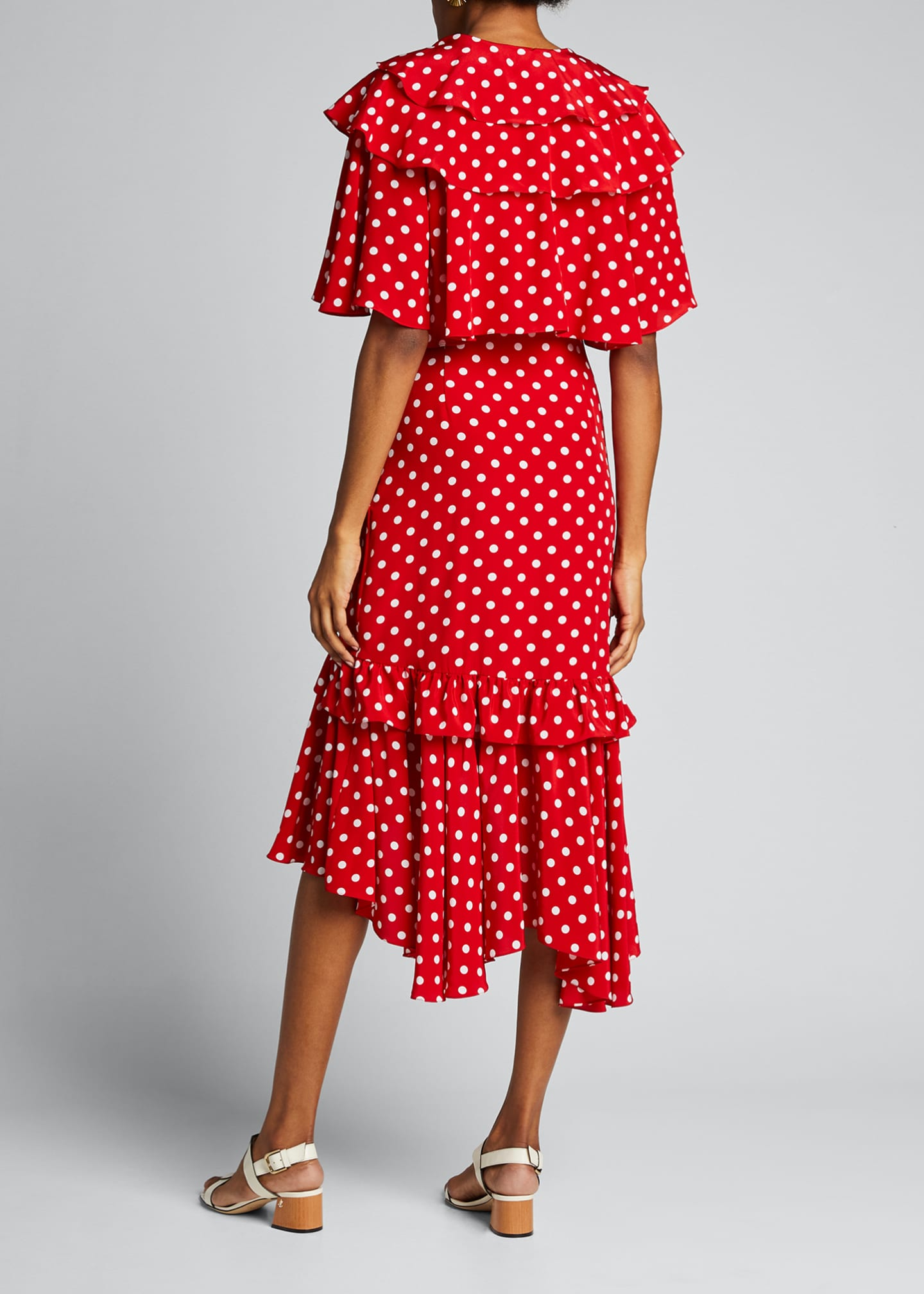 Image 2 of 4: Dot Asymmetric Ruffle Dress