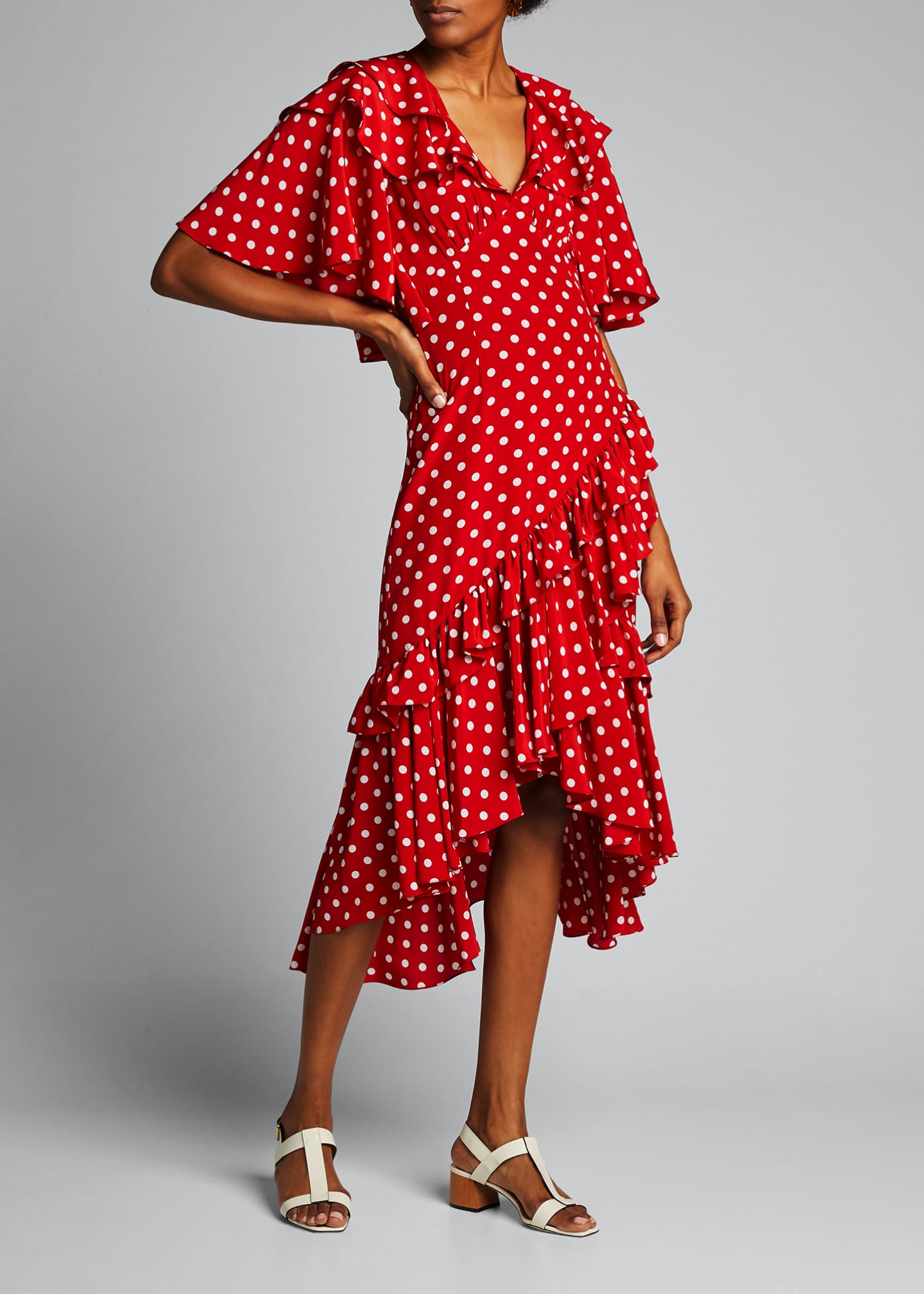 Image 1 of 4: Dot Asymmetric Ruffle Dress