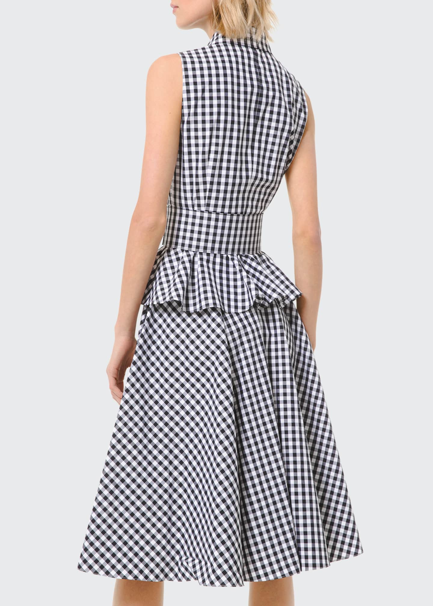 Image 2 of 2: Gingham Peplum Sleeveless Shirtdress with Belt