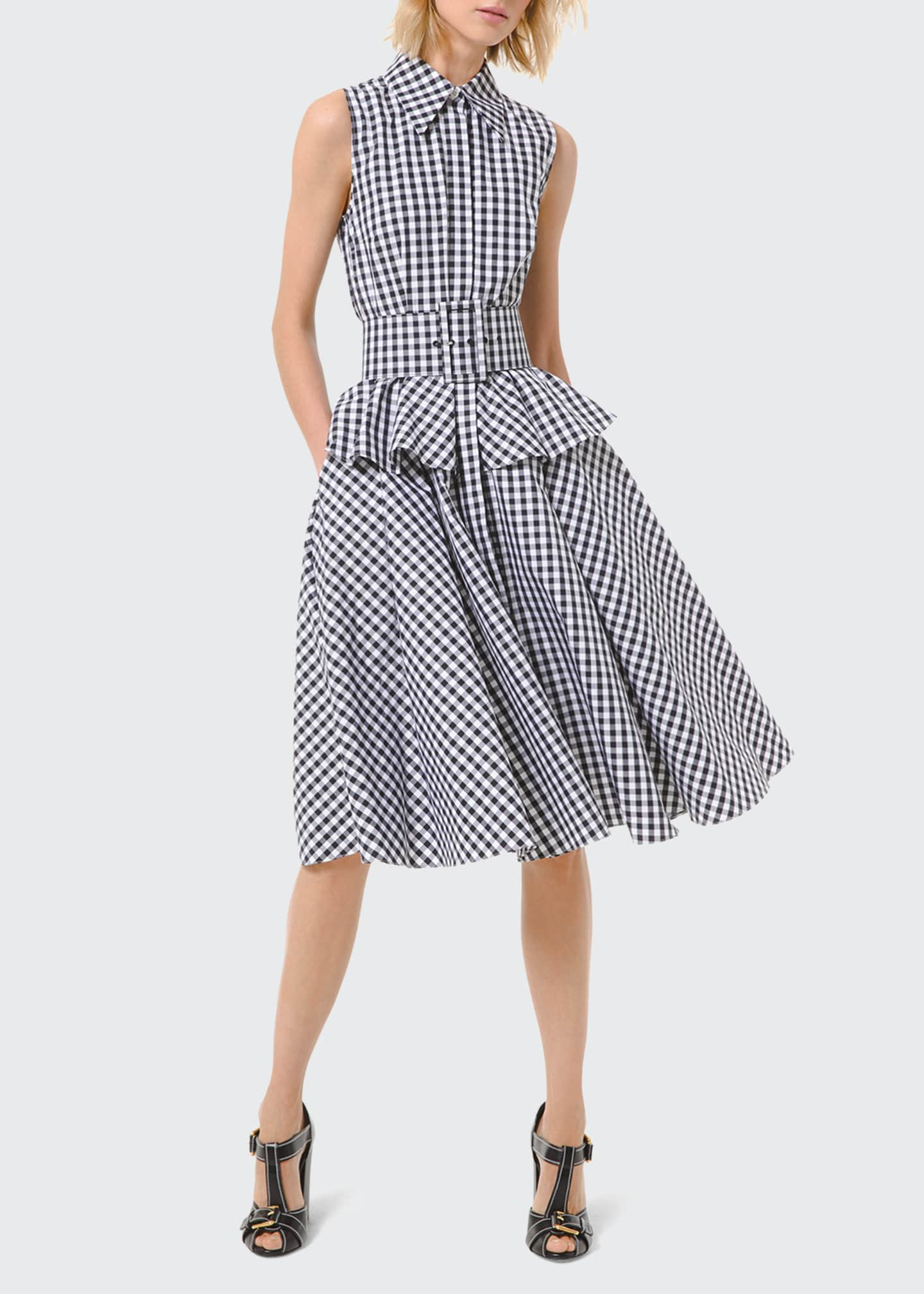 Image 1 of 2: Gingham Peplum Sleeveless Shirtdress with Belt