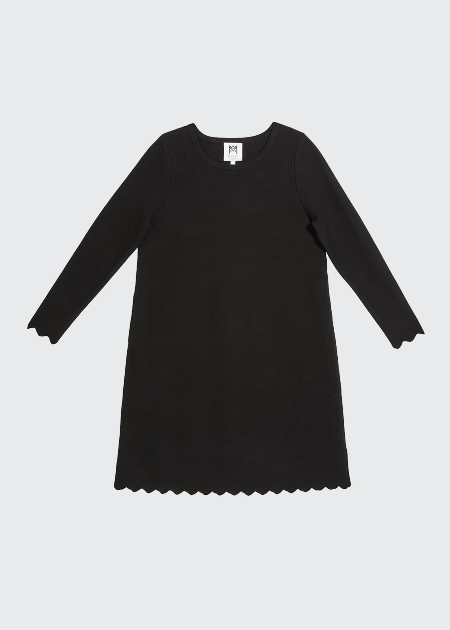 Image 1 of 1: Girl's Scalloped A-Line Long-Sleeve Knit Dress, Size 7-16