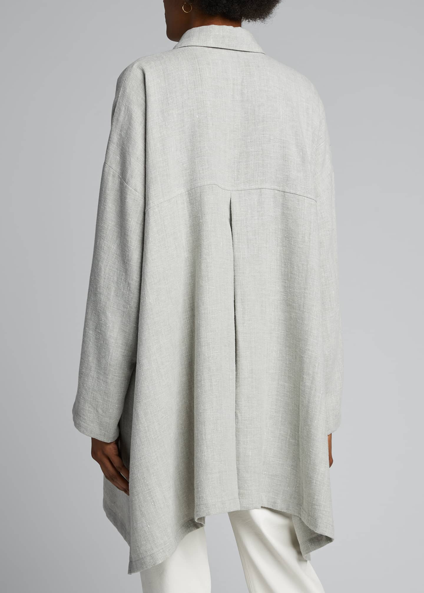 Image 2 of 4: Wide A-Line Linen Jacket