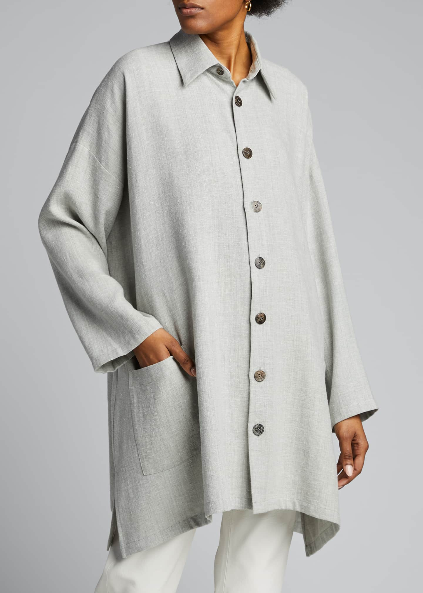 Image 3 of 4: Wide A-Line Linen Jacket