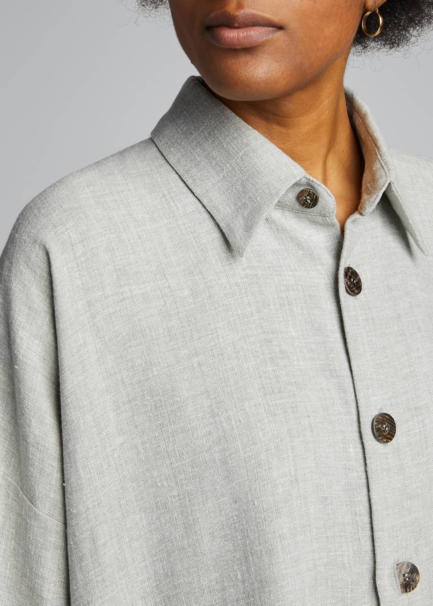 Image 4 of 4: Wide A-Line Linen Jacket