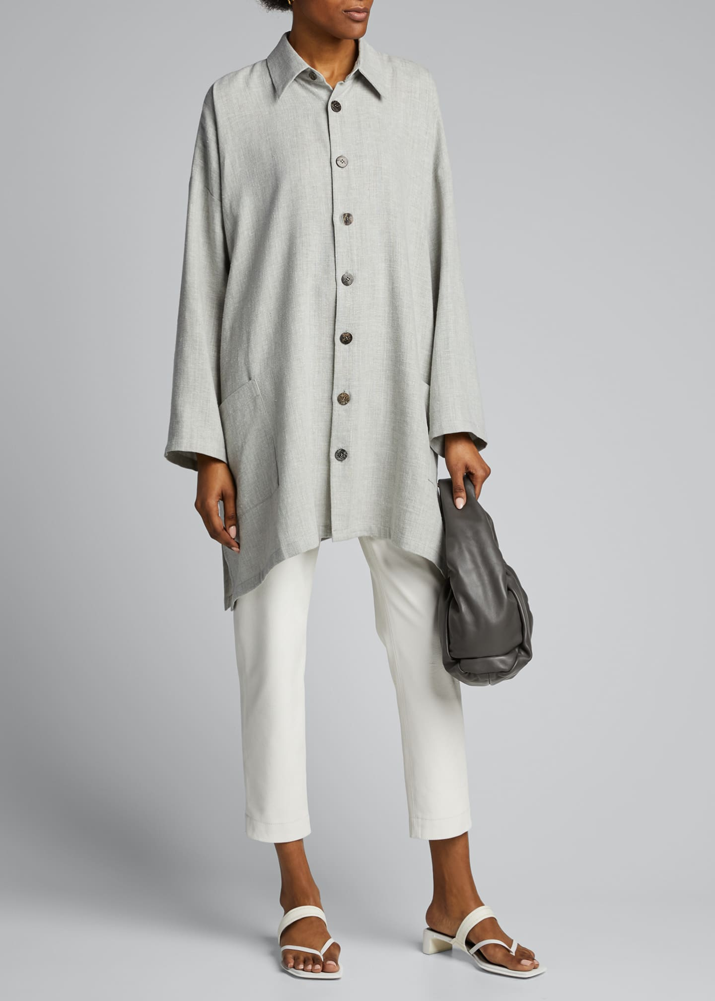 Image 1 of 4: Wide A-Line Linen Jacket