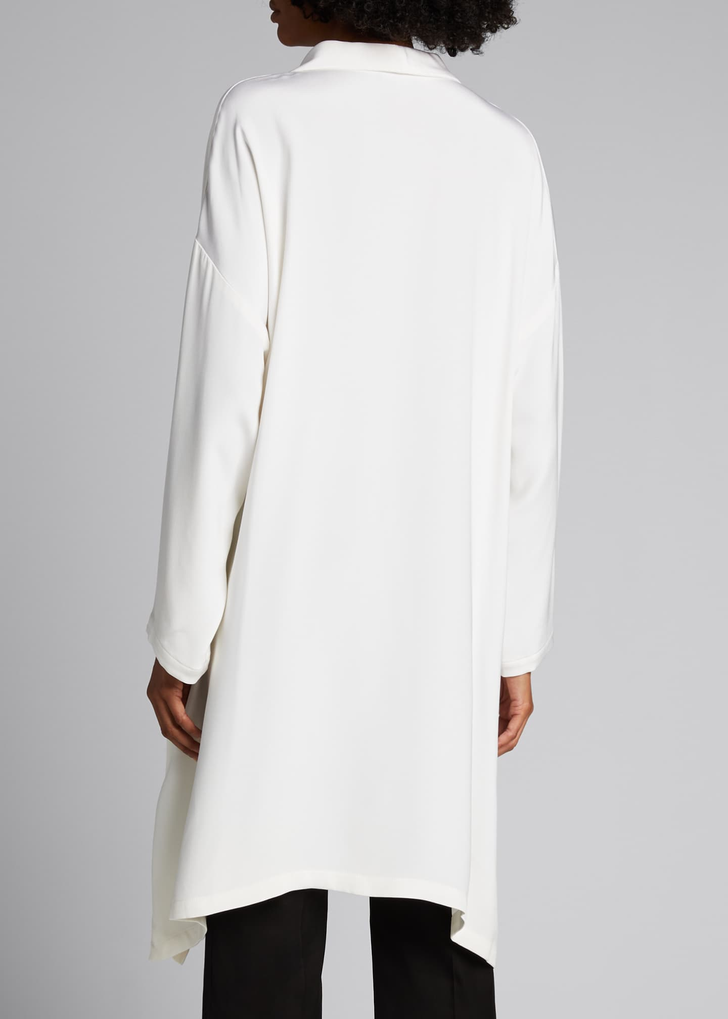Image 2 of 5: Wide A-line Mid Weight Silk Long Shirt
