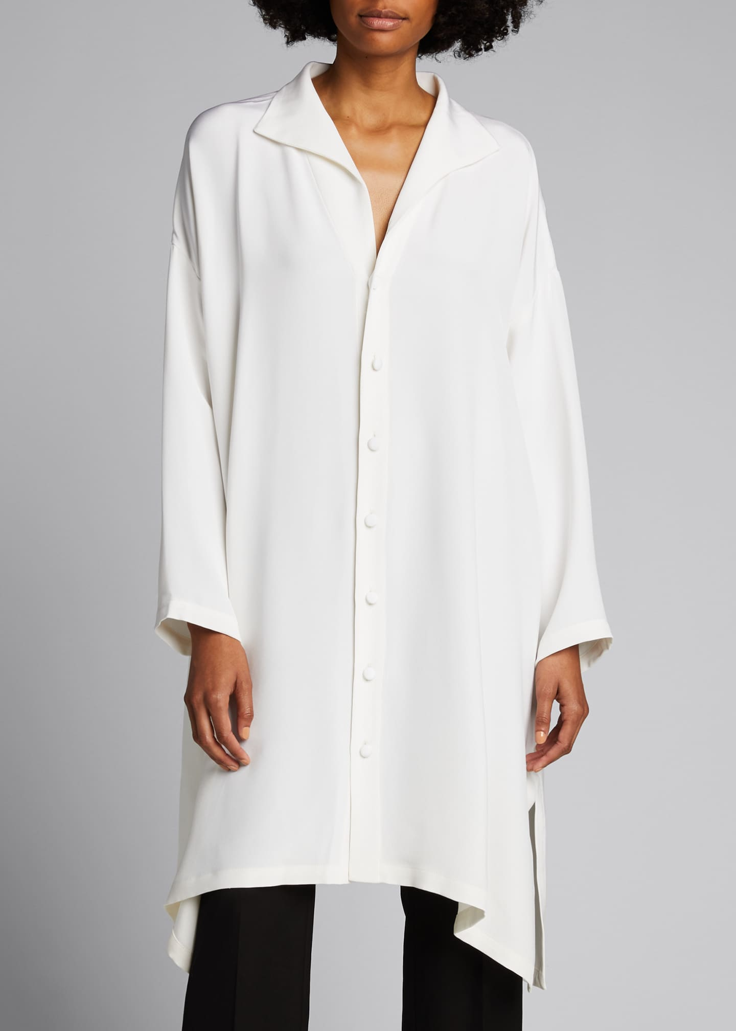 Image 3 of 5: Wide A-line Mid Weight Silk Long Shirt