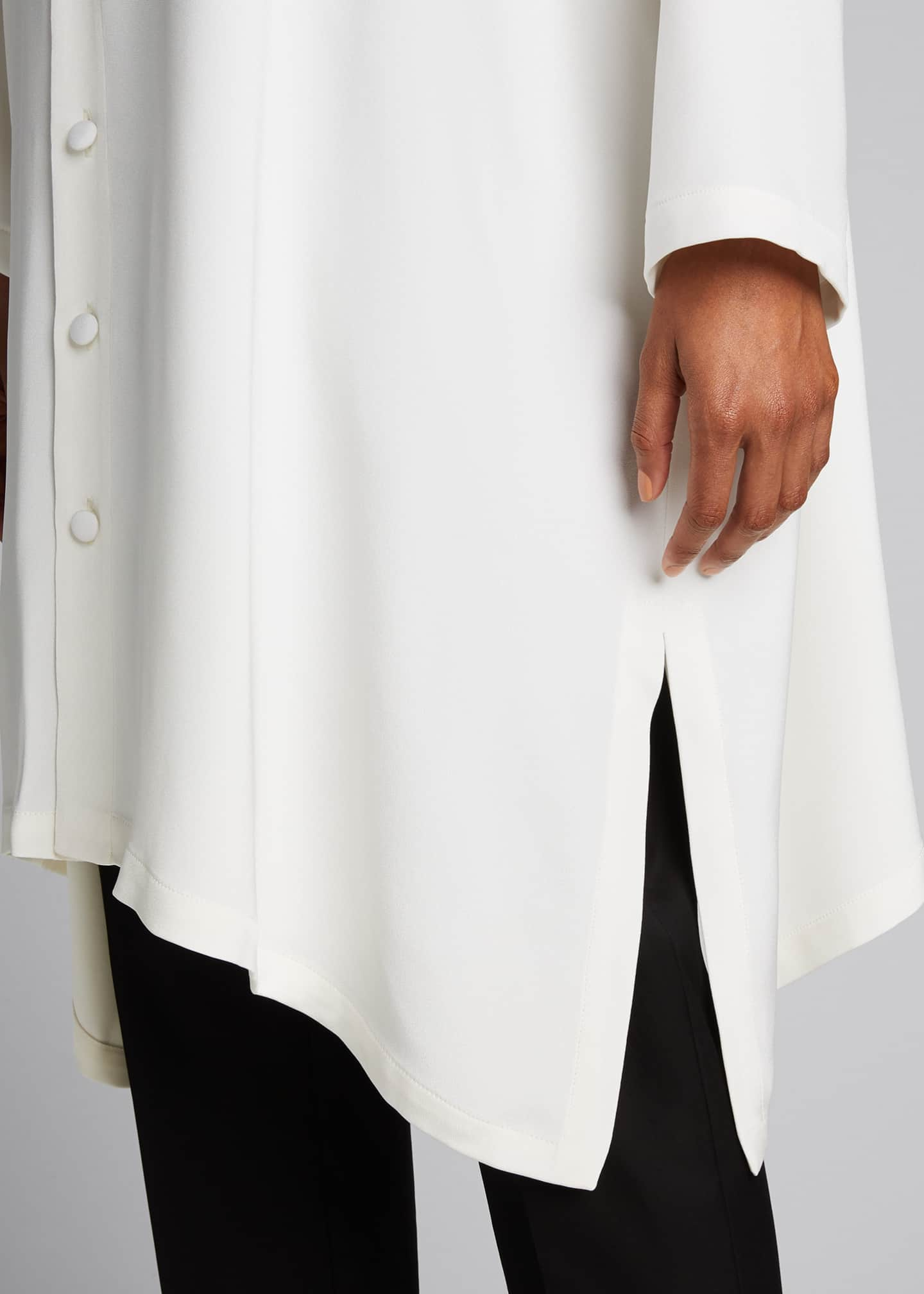 Image 4 of 5: Wide A-line Mid Weight Silk Long Shirt