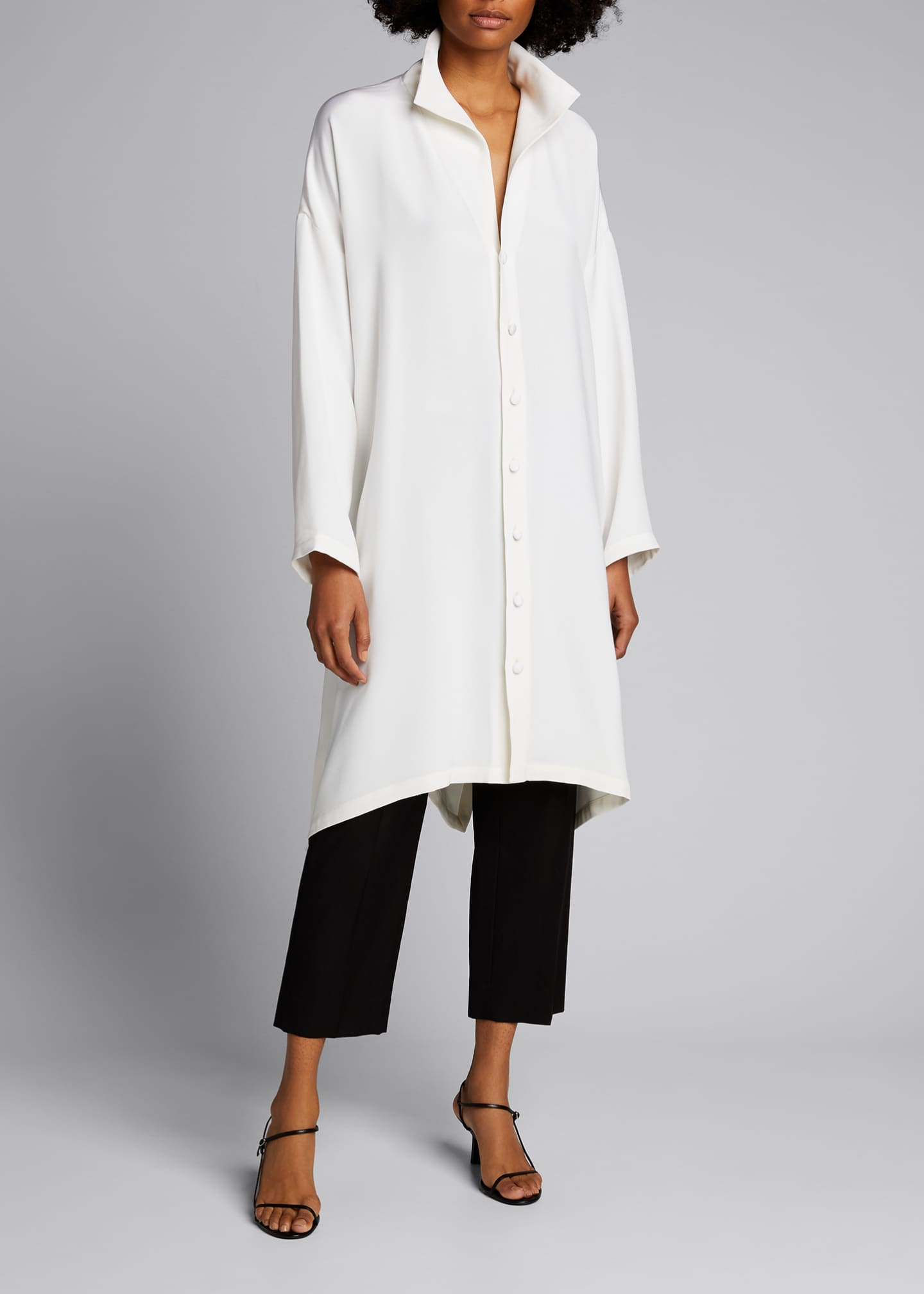 Image 1 of 5: Wide A-line Mid Weight Silk Long Shirt