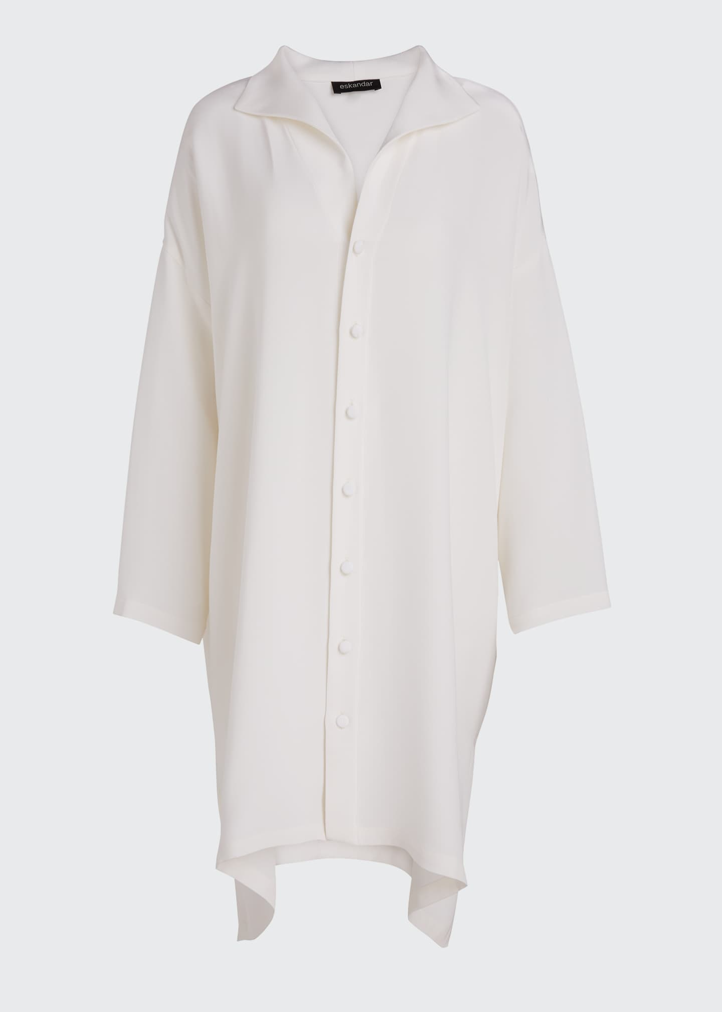 Image 5 of 5: Wide A-line Mid Weight Silk Long Shirt