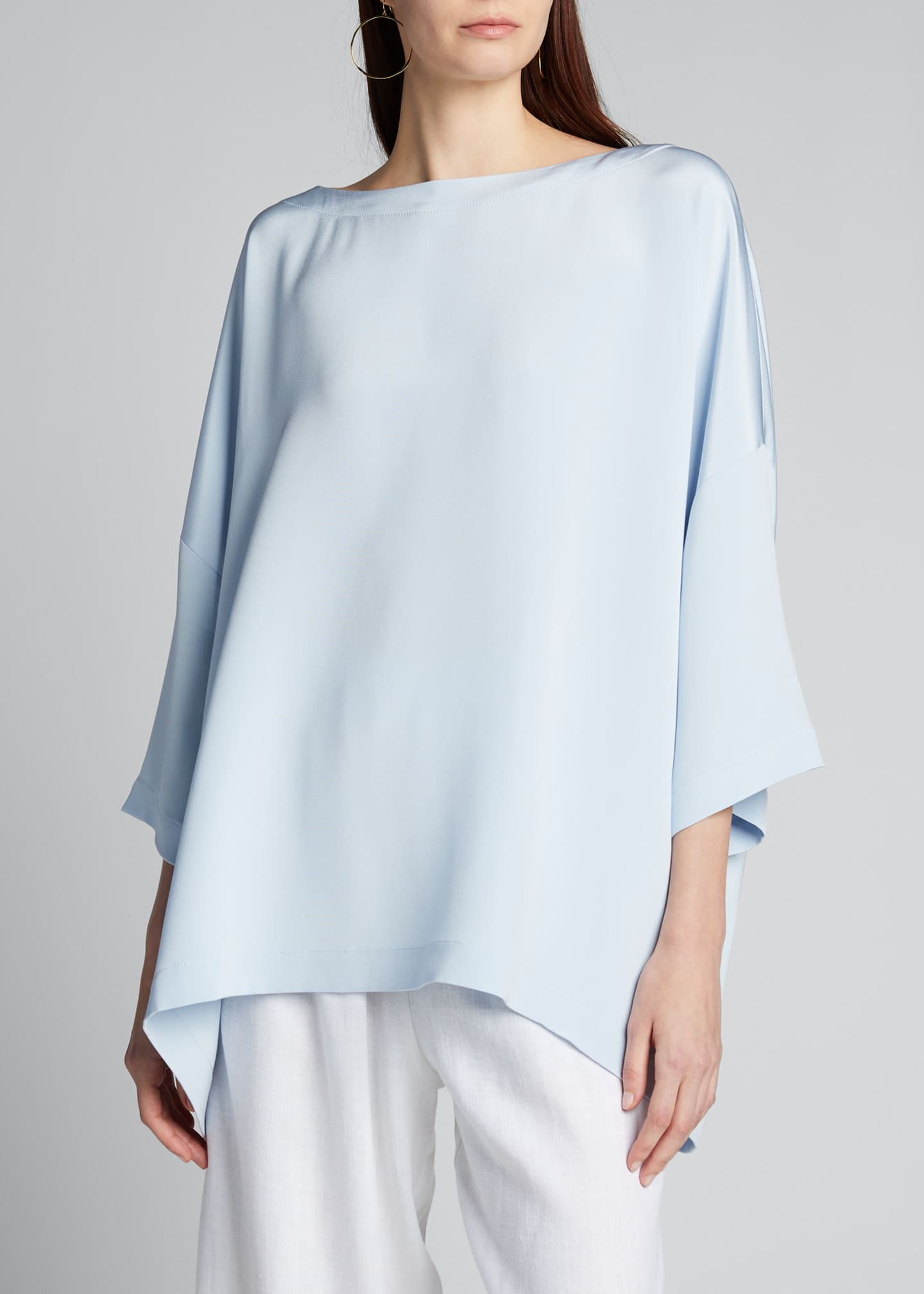 Image 3 of 5: Silk 3/4-Sleeve Bateau-Neck Tunic