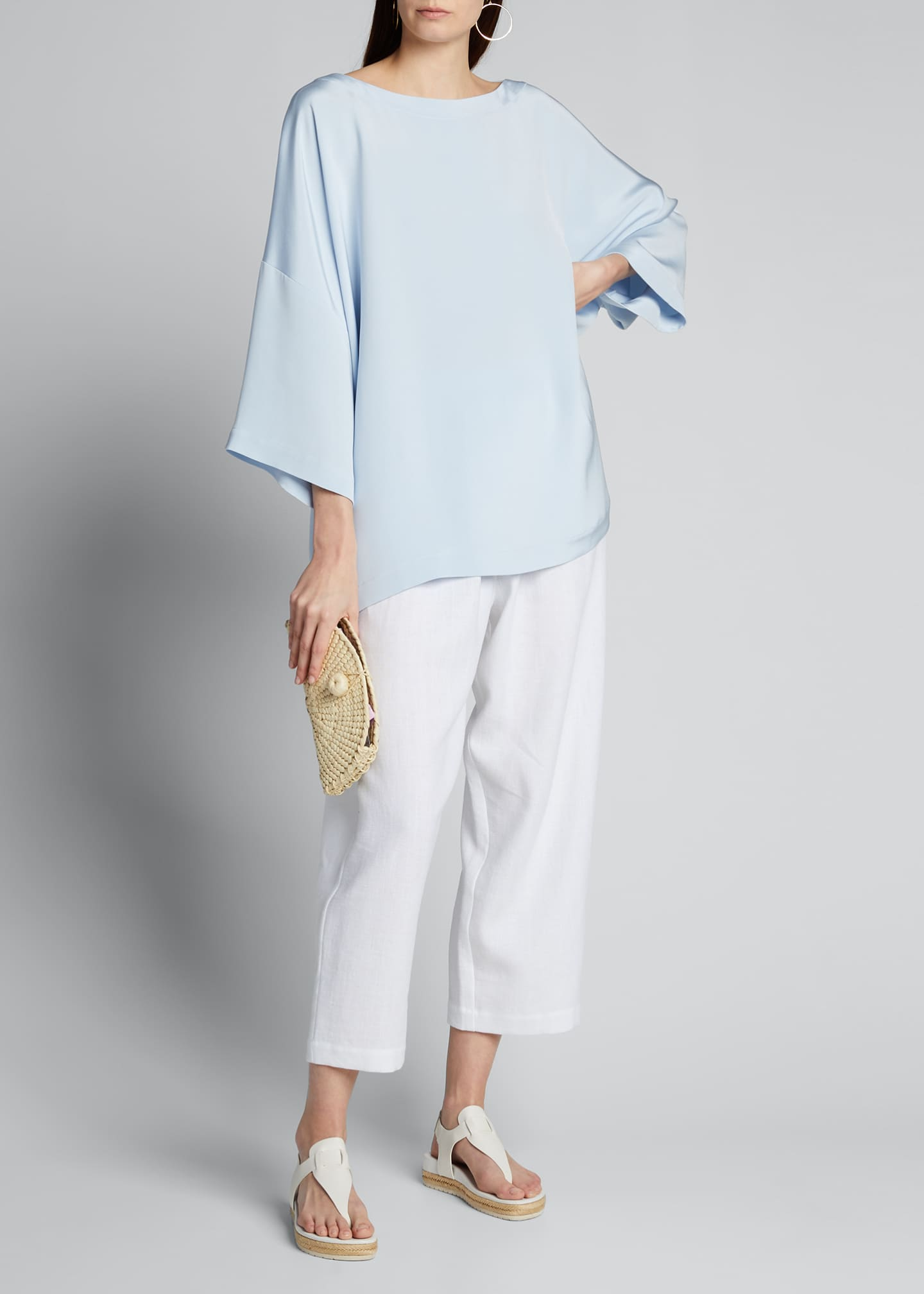 Silk 3/4-Sleeve Bateau-Neck Tunic