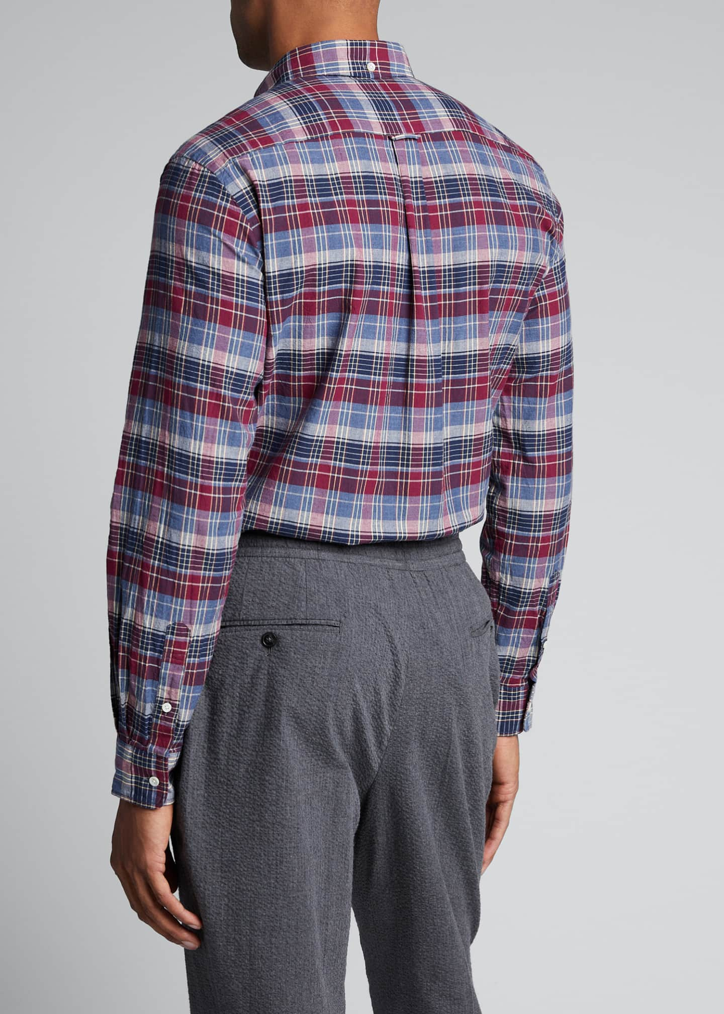 Image 2 of 5: Men's Madras Plaid Sport Shirt