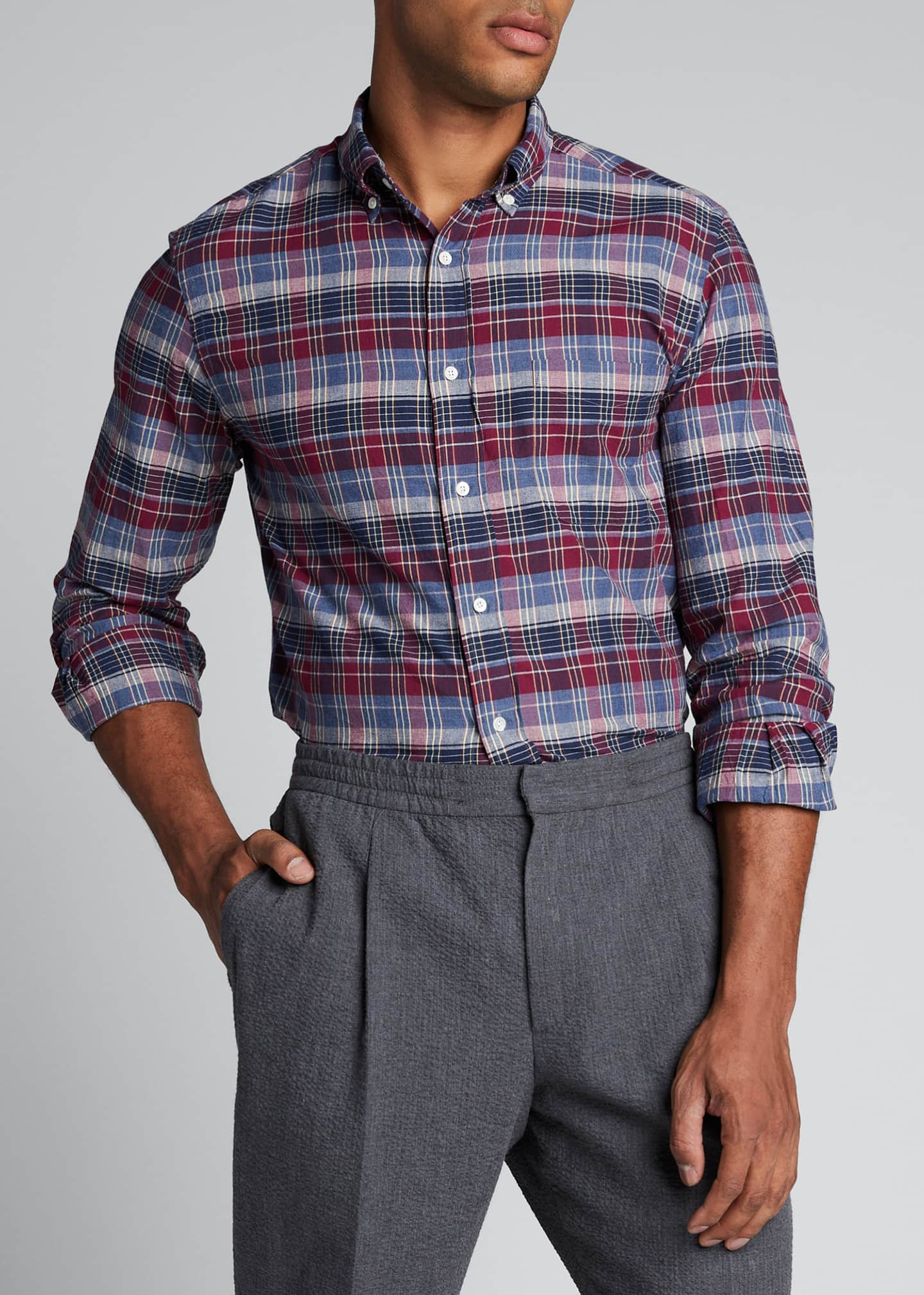 Image 3 of 5: Men's Madras Plaid Sport Shirt