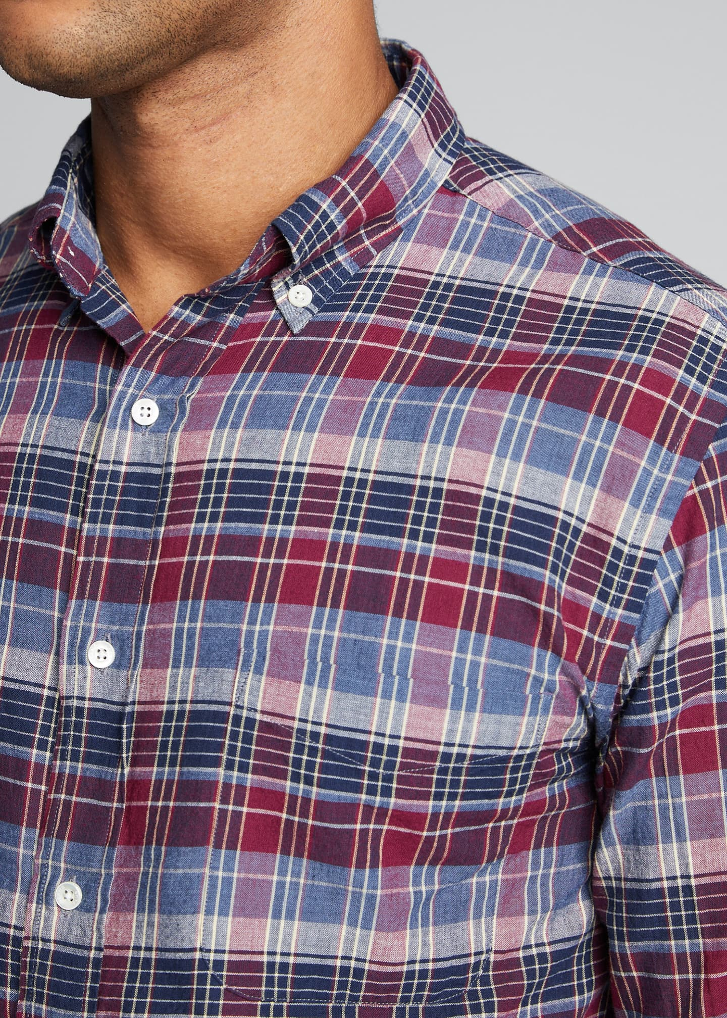 Image 4 of 5: Men's Madras Plaid Sport Shirt
