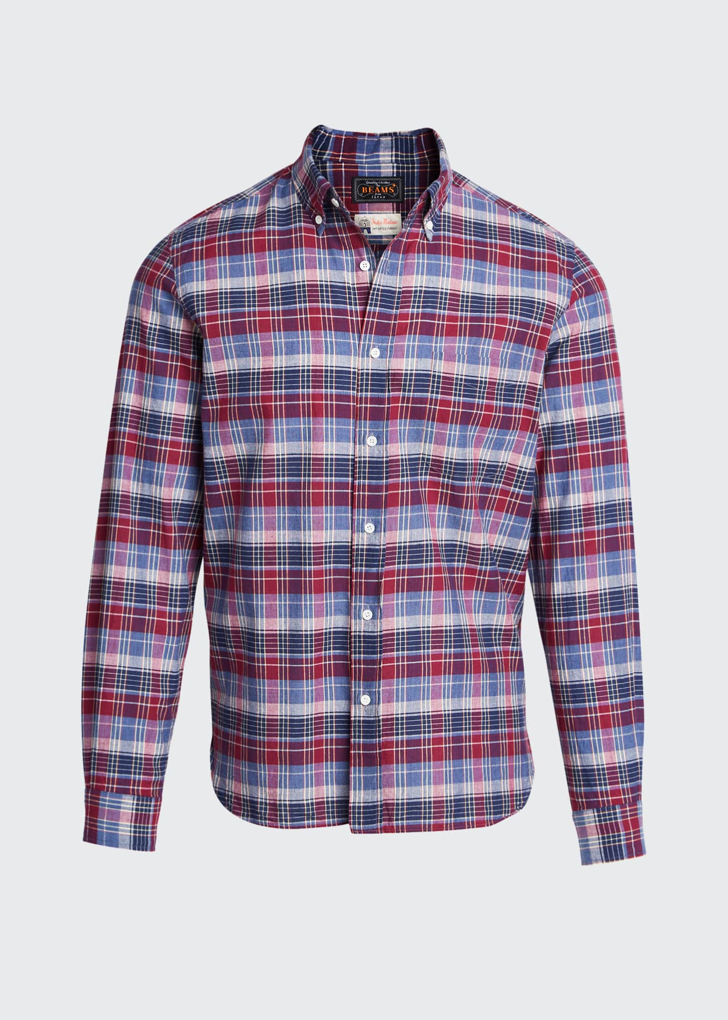 Image 5 of 5: Men's Madras Plaid Sport Shirt