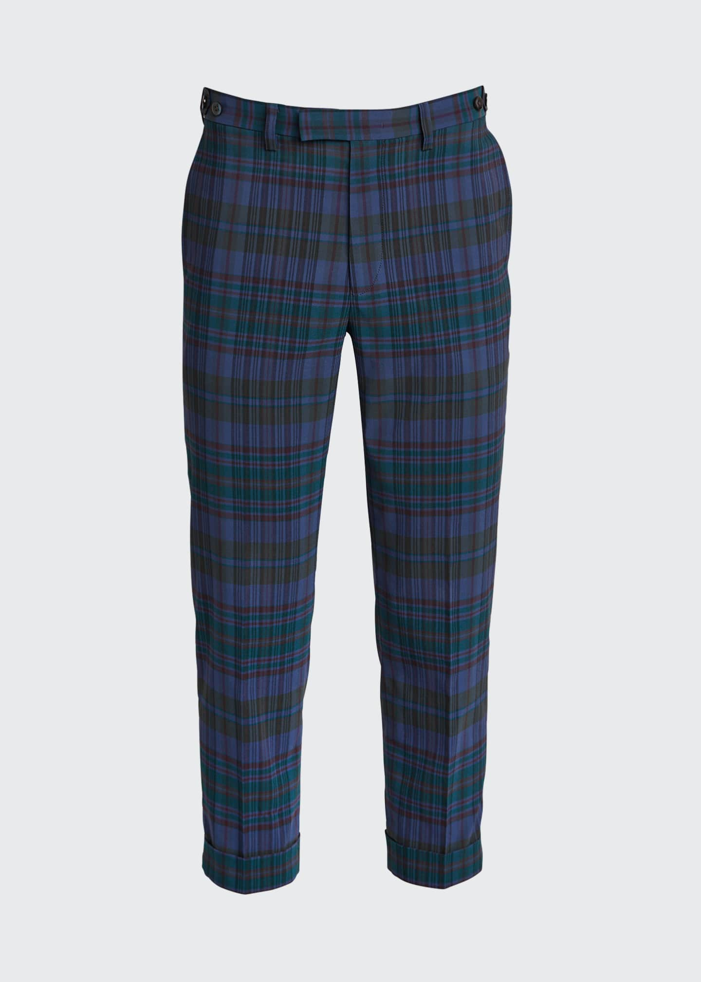 Image 4 of 4: Men's Ivy Madras Check Cropped Trousers