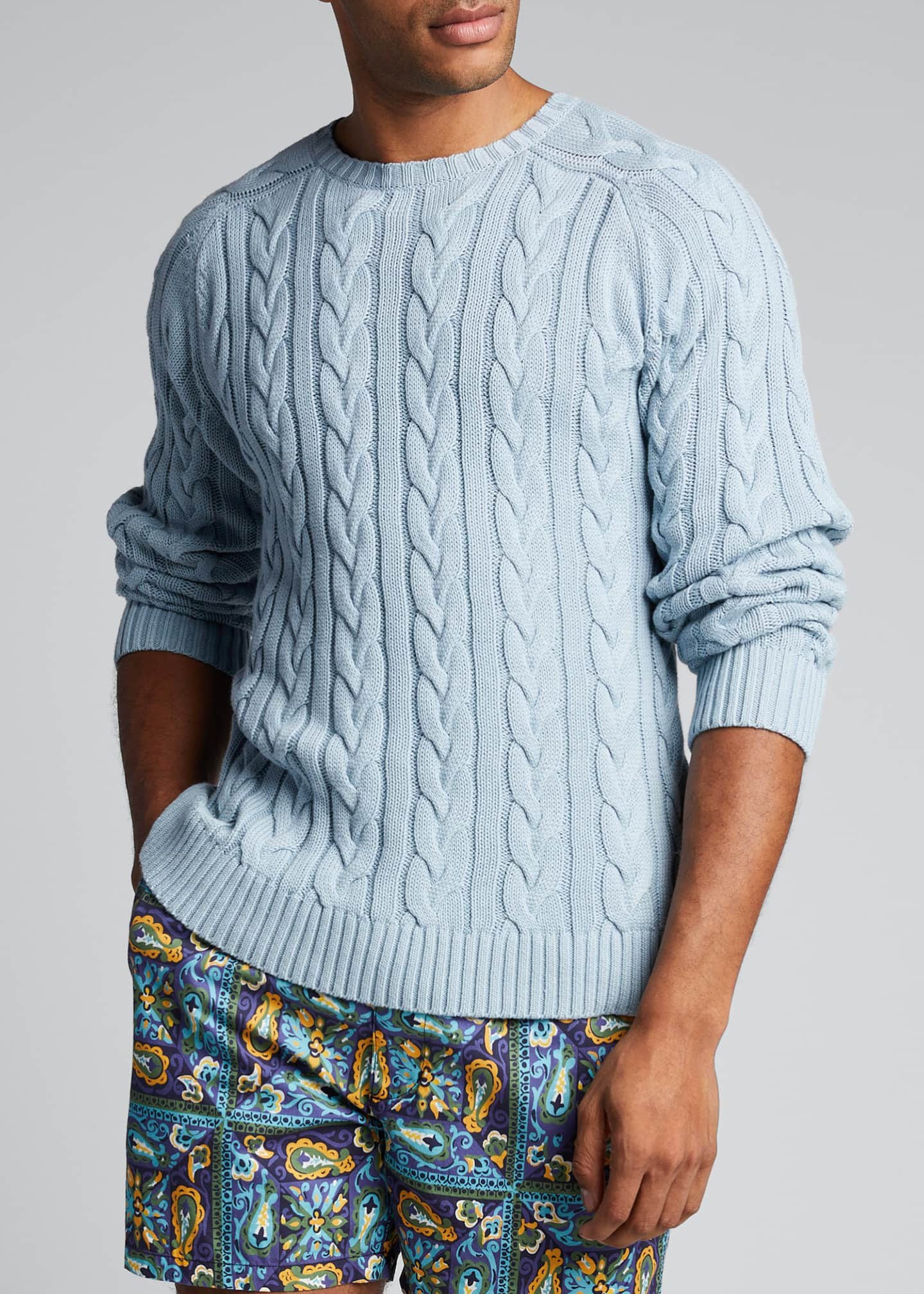 Image 3 of 4: Men's Cable-Knit Crewneck Sweater