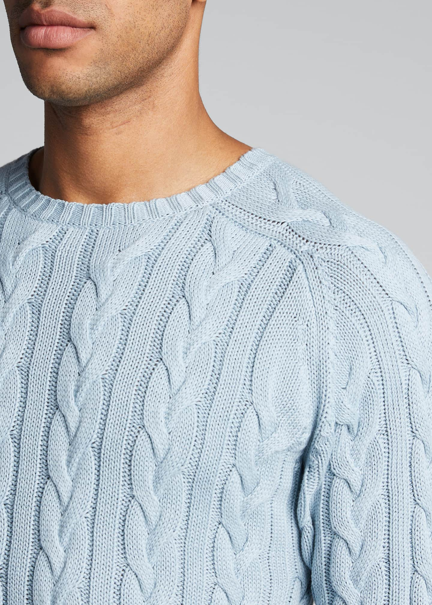 Image 4 of 4: Men's Cable-Knit Crewneck Sweater