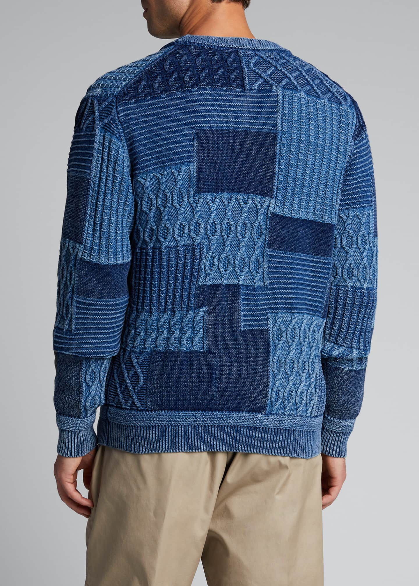 Image 2 of 5: Men's Patchwork Cable Cardigan Sweater