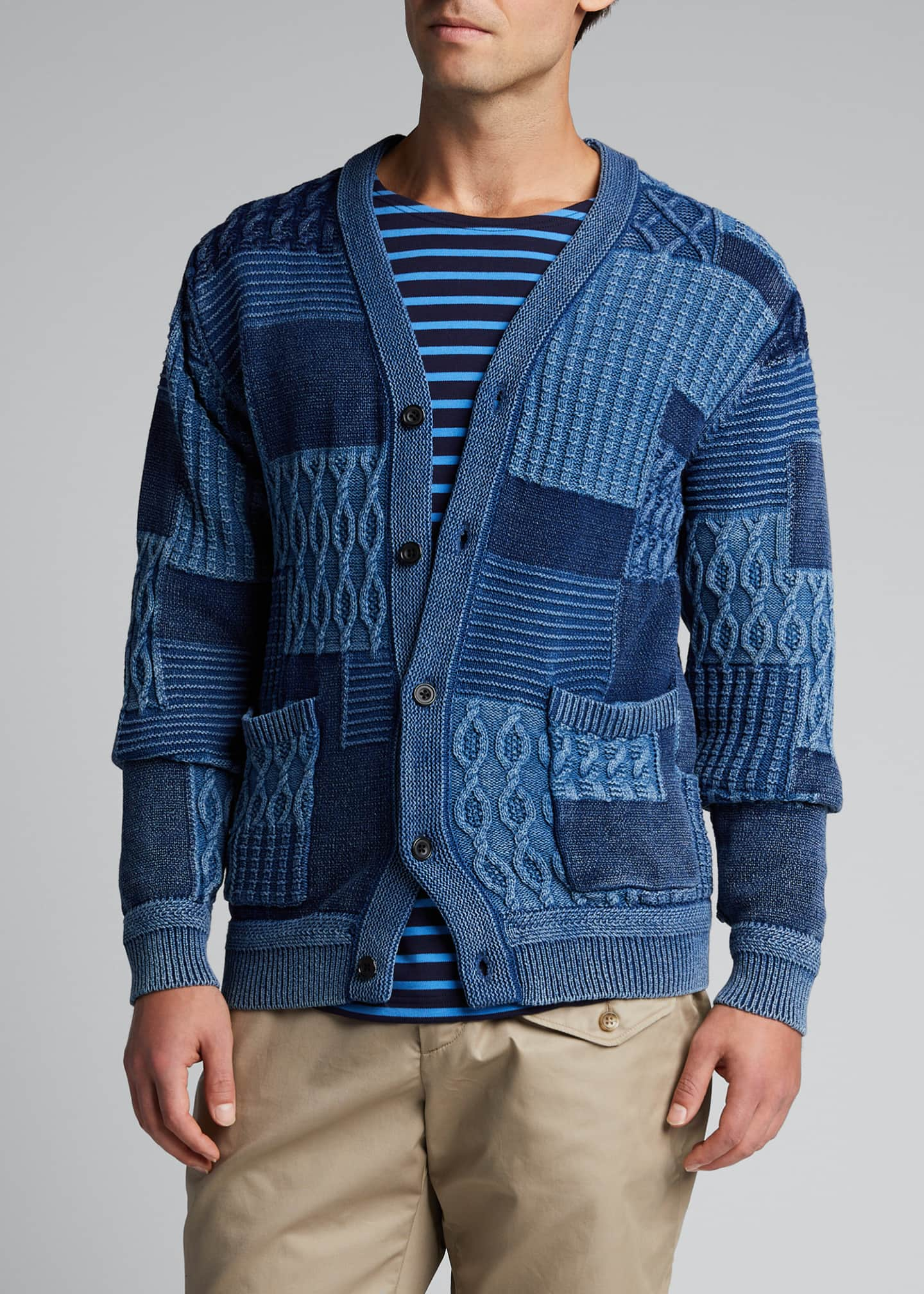 Image 3 of 5: Men's Patchwork Cable Cardigan Sweater